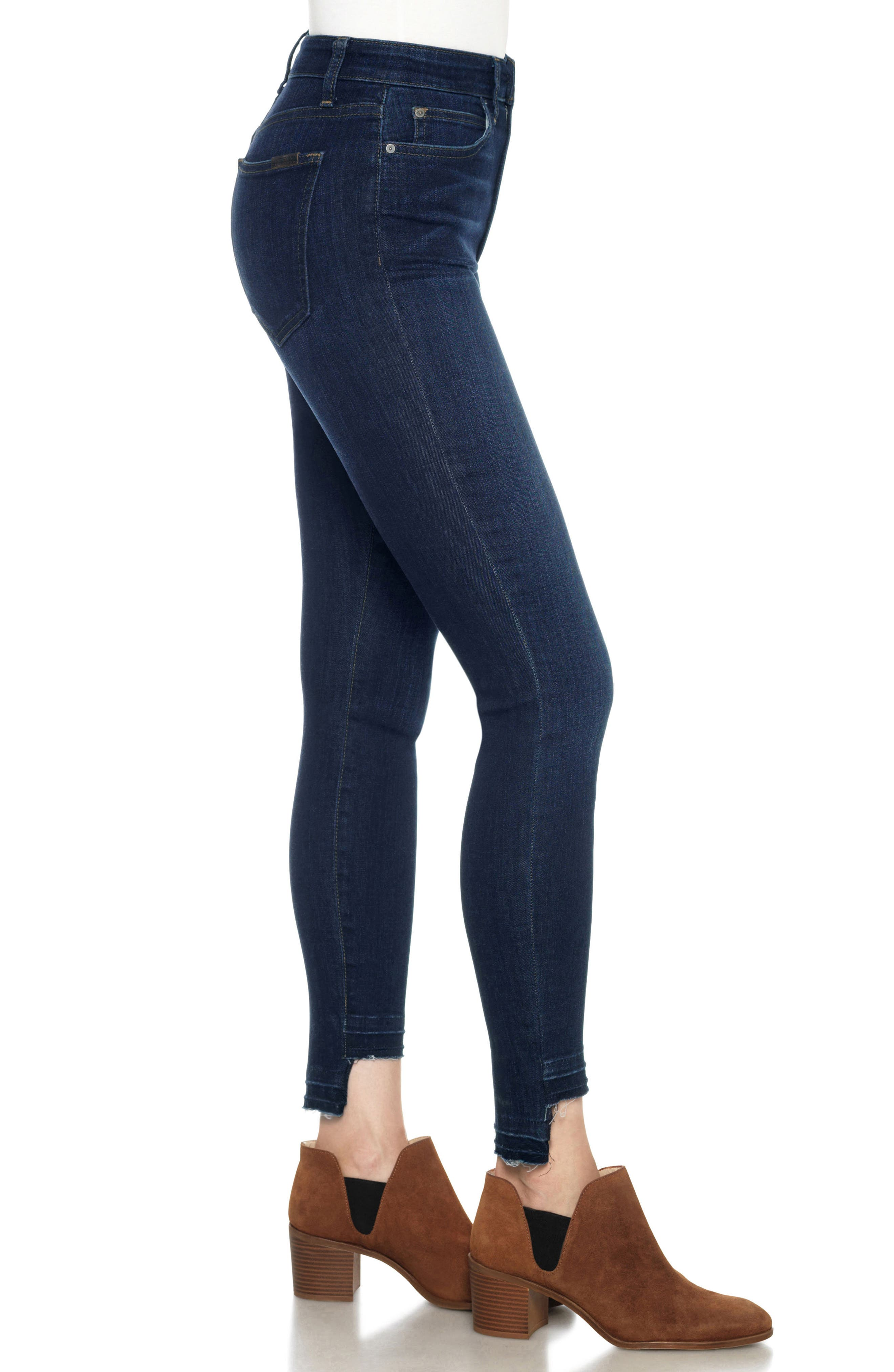 Flawless - Charlie High Waist Step Hem Ankle Skinny Jeans,                             Alternate thumbnail 3, color,                             Nurie