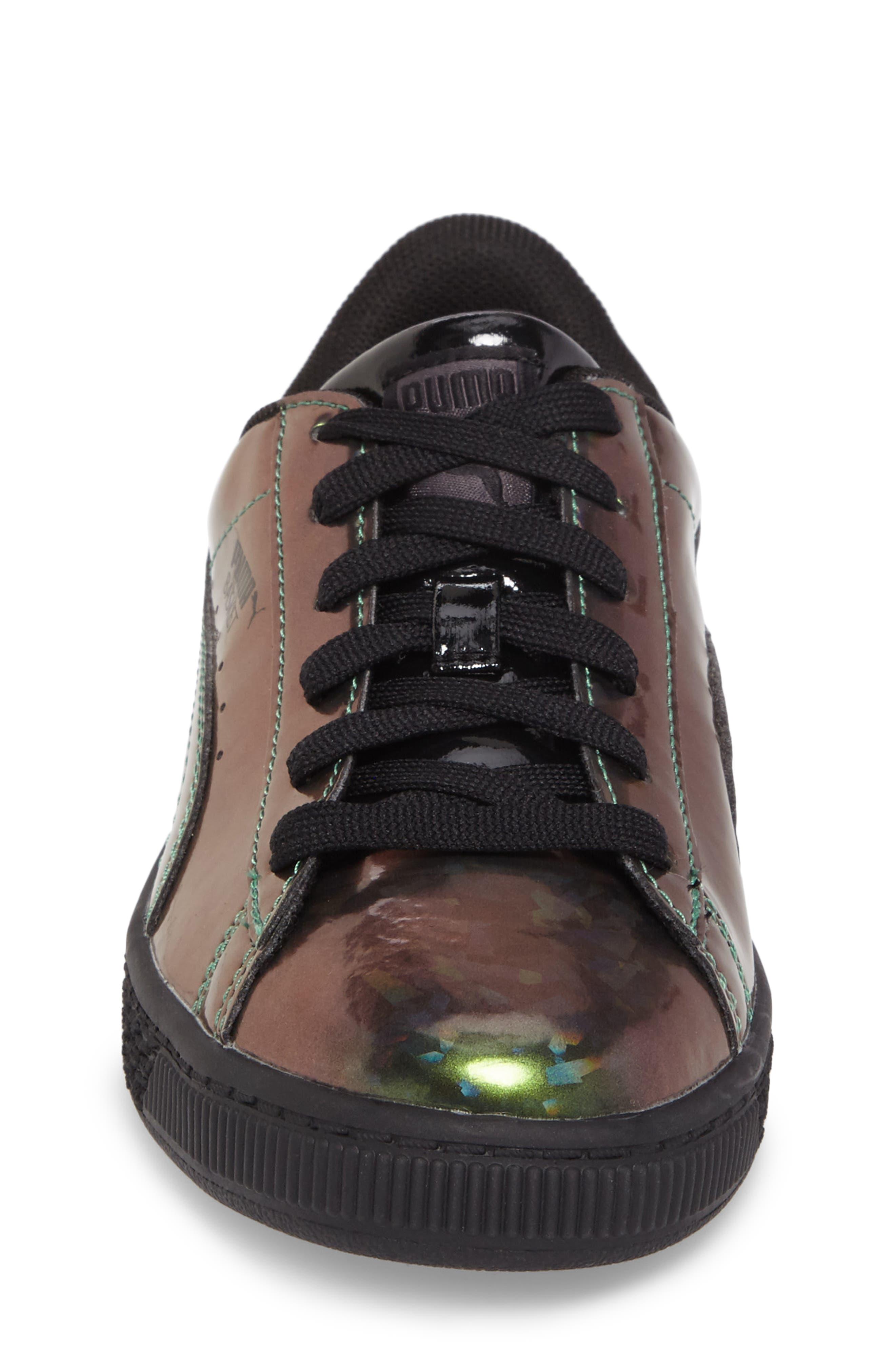 Basket Classic Holo PS Sneaker,                             Alternate thumbnail 4, color,                             Black/ Black