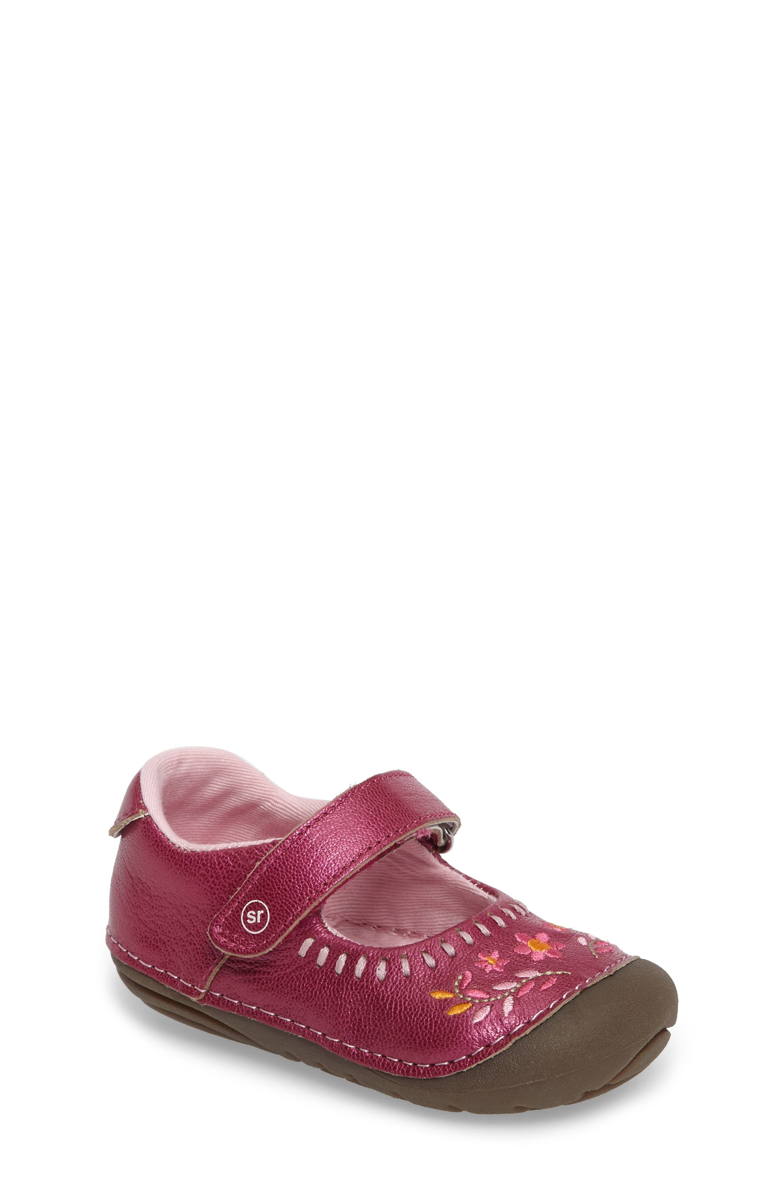 Alternate Image 1 Selected - Stride Rite Atley Flower Embroidered Mary Jane (Baby & Walker)