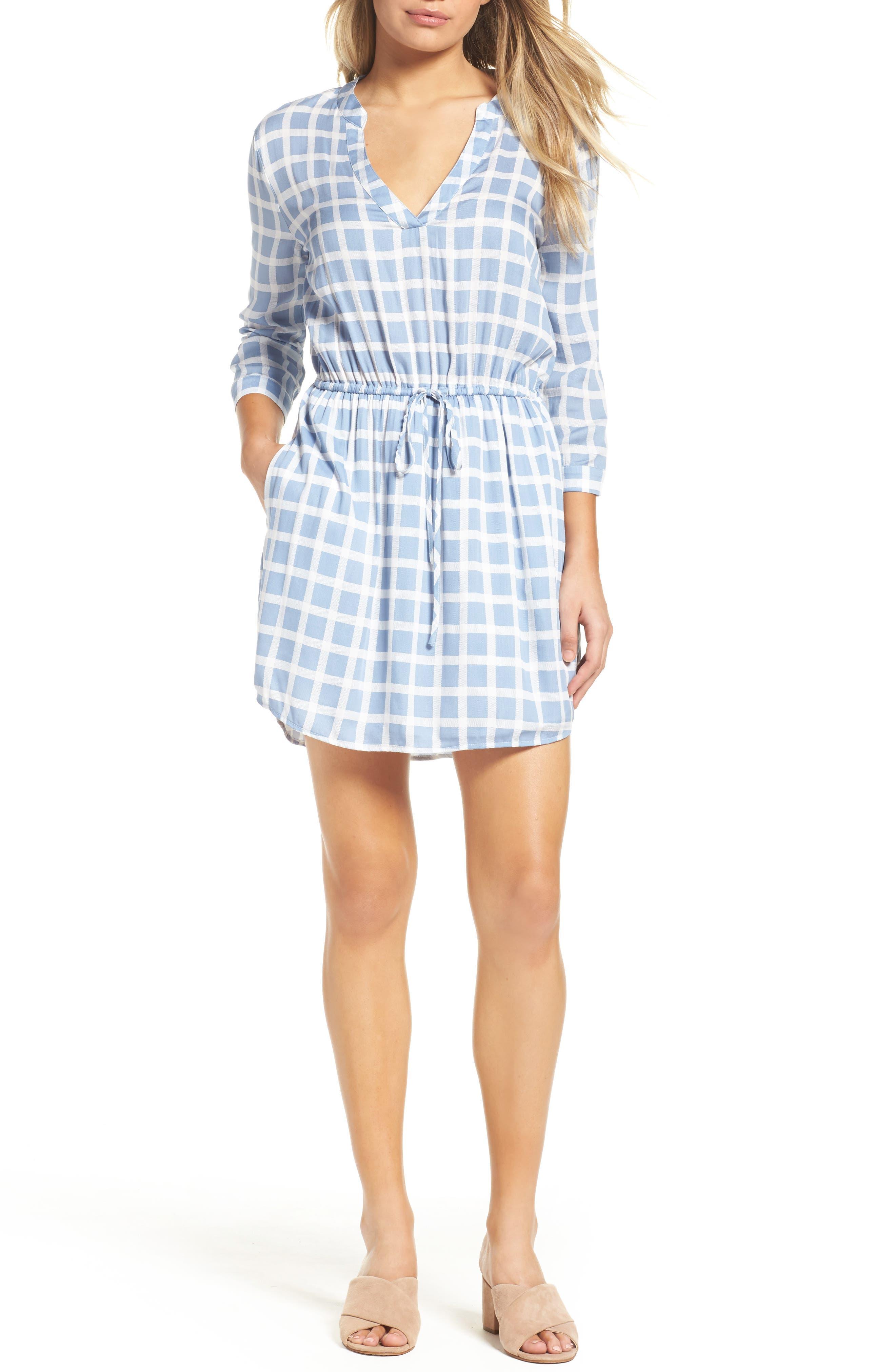 Daniella Plaid Shirtdress,                             Main thumbnail 1, color,                             Faded Denim