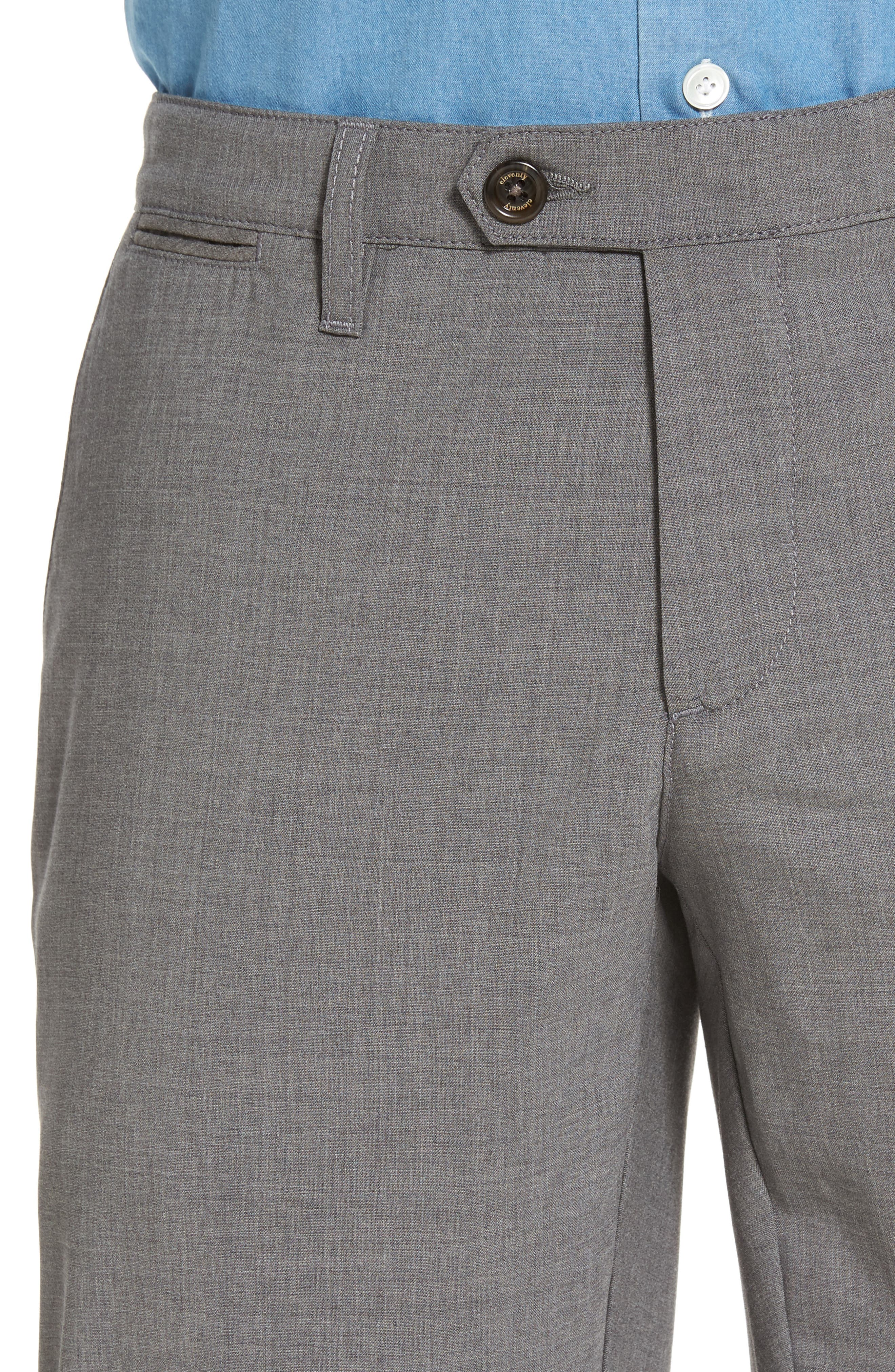 Flat Front Wool Trousers,                             Alternate thumbnail 4, color,                             Medium Grey