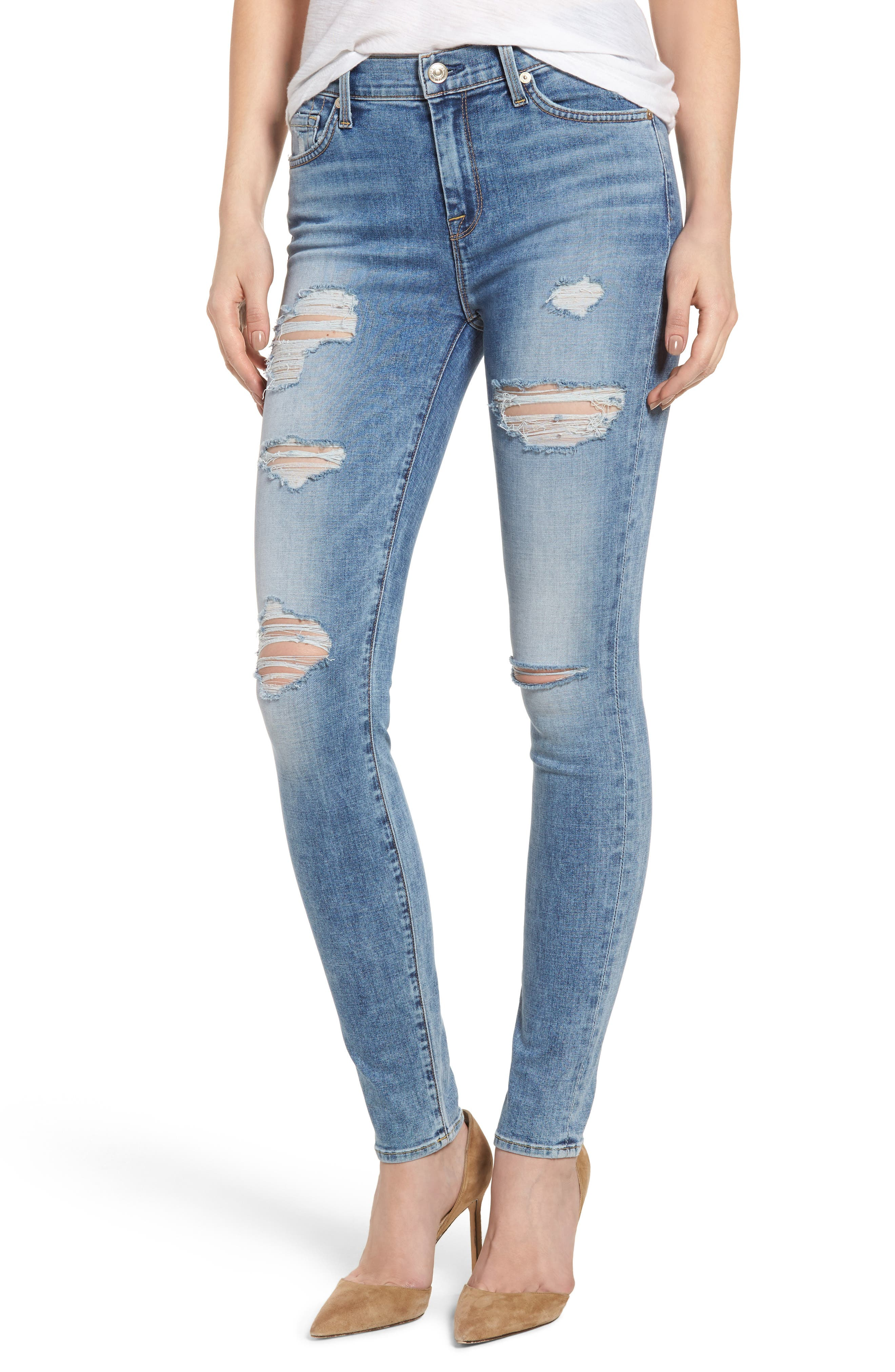 Main Image - 7 For All Mankind® Ripped High Waist Skinny Jeans (Light Lafayette)