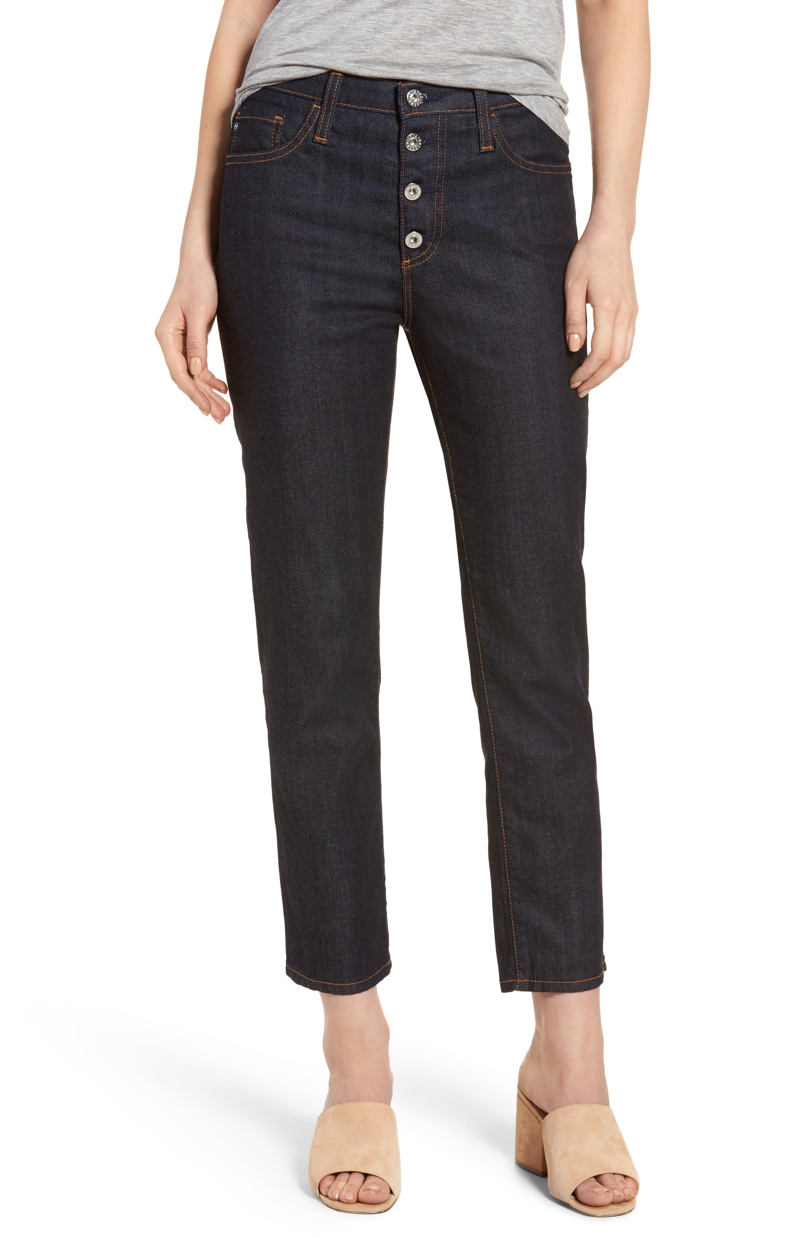 Alternate Image 1 Selected - AG Isabelle High Waist Ankle Jeans (Indigo Autumn)