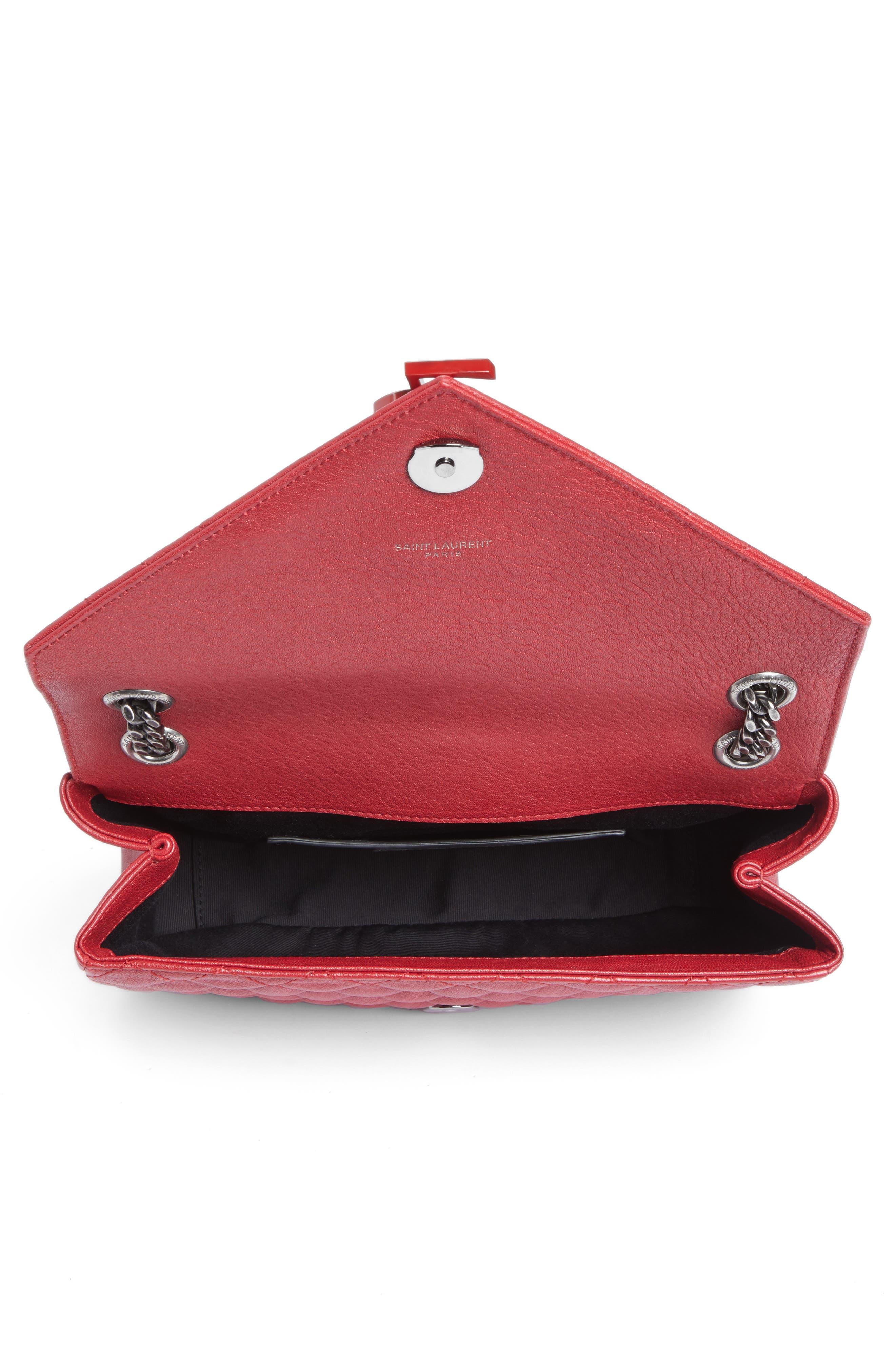Large Monogramme Matelassé Leather Shoulder Bag,                             Alternate thumbnail 4, color,                             Rouge Lipstick