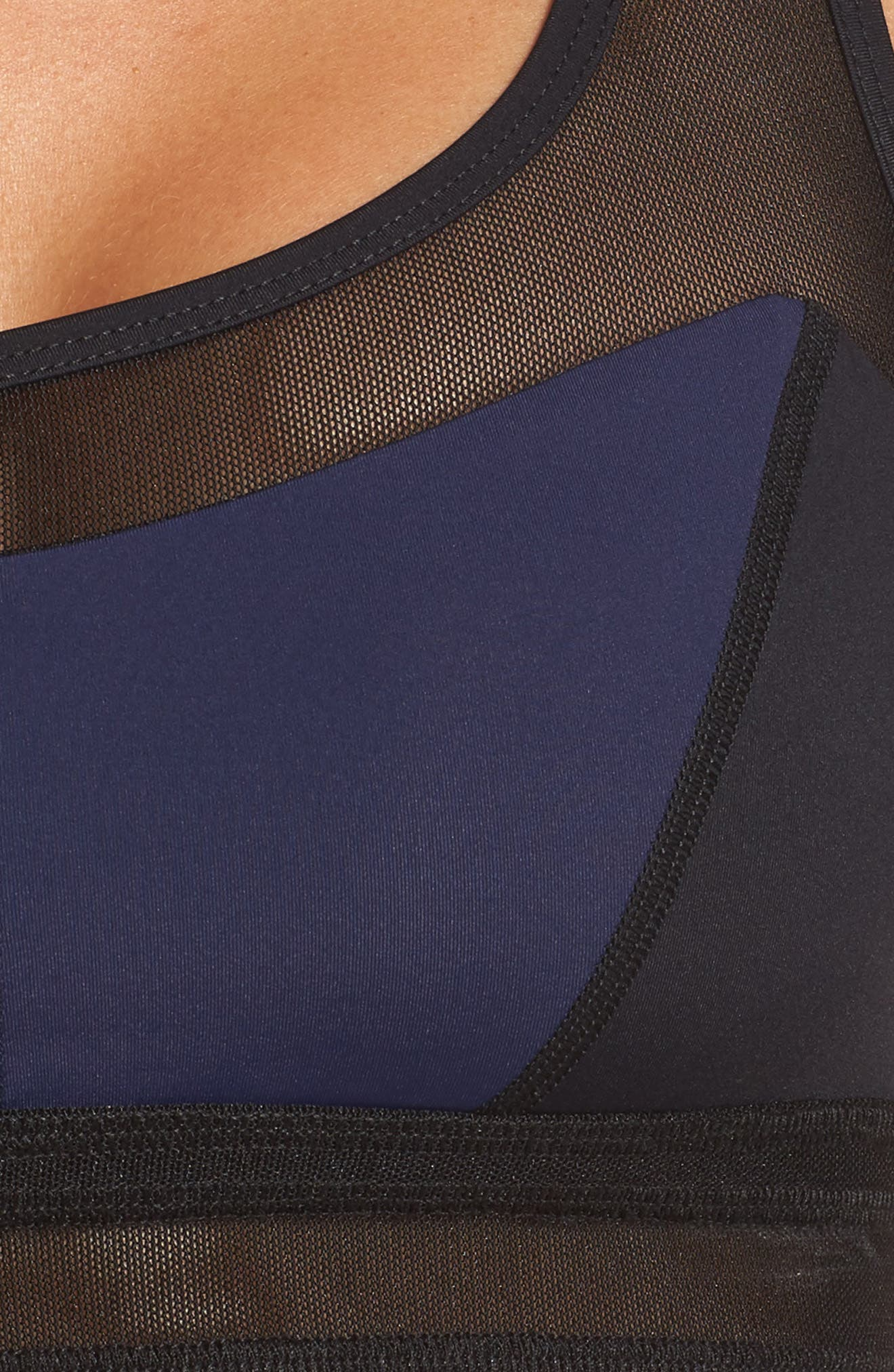 BoomBoom Athletica Mesh Sports Bra,                             Alternate thumbnail 4, color,                             Navy/ Black