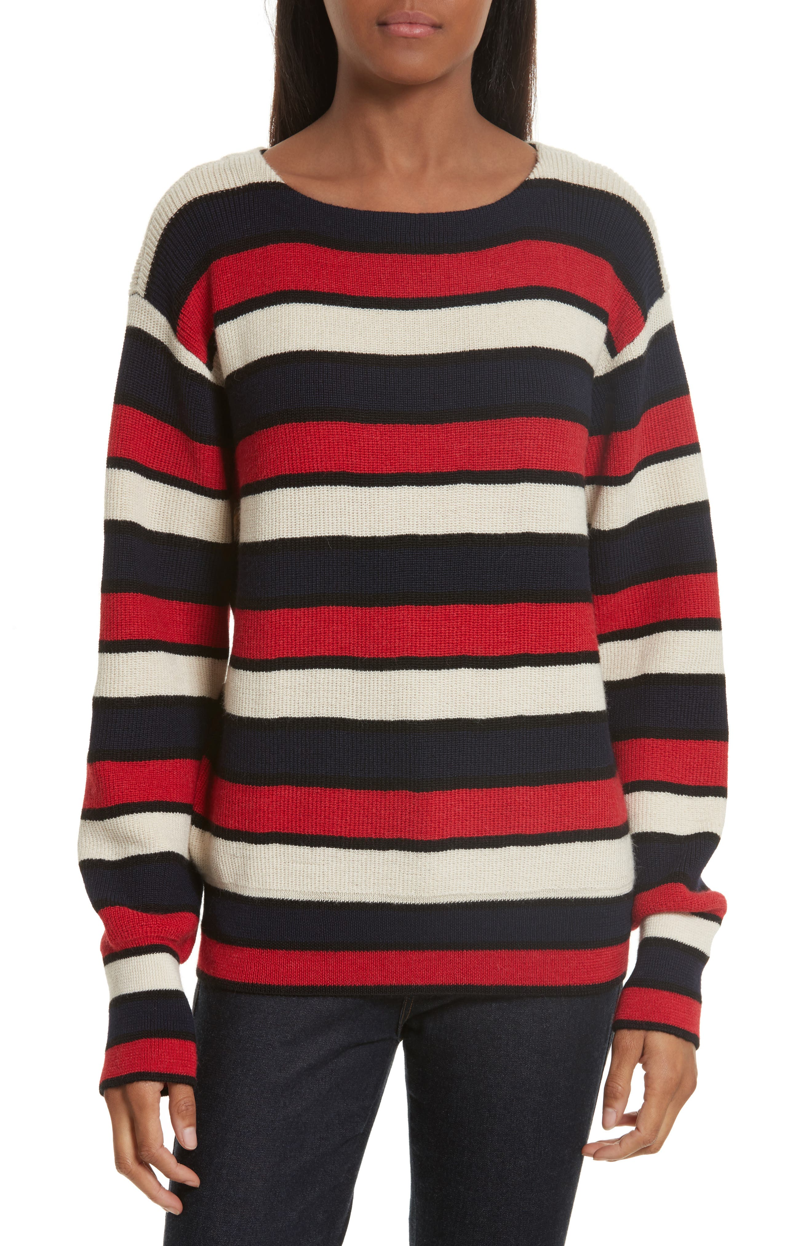 Austrie Stripe Alpaca Sweater,                             Main thumbnail 1, color,                             Red/ Ivory/ Navy