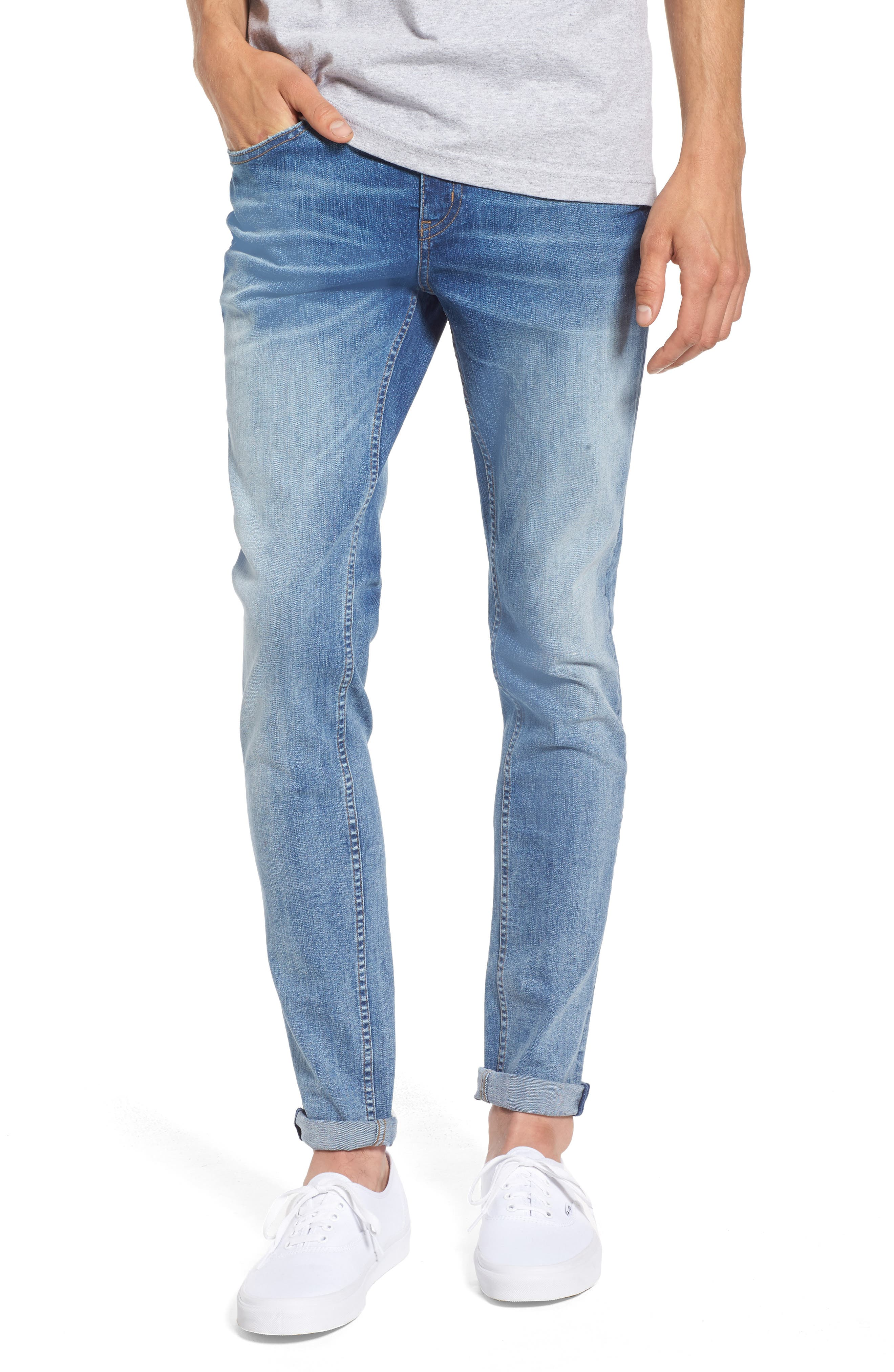 Tight Skinny Fit Jeans,                         Main,                         color, Dug Up Blue
