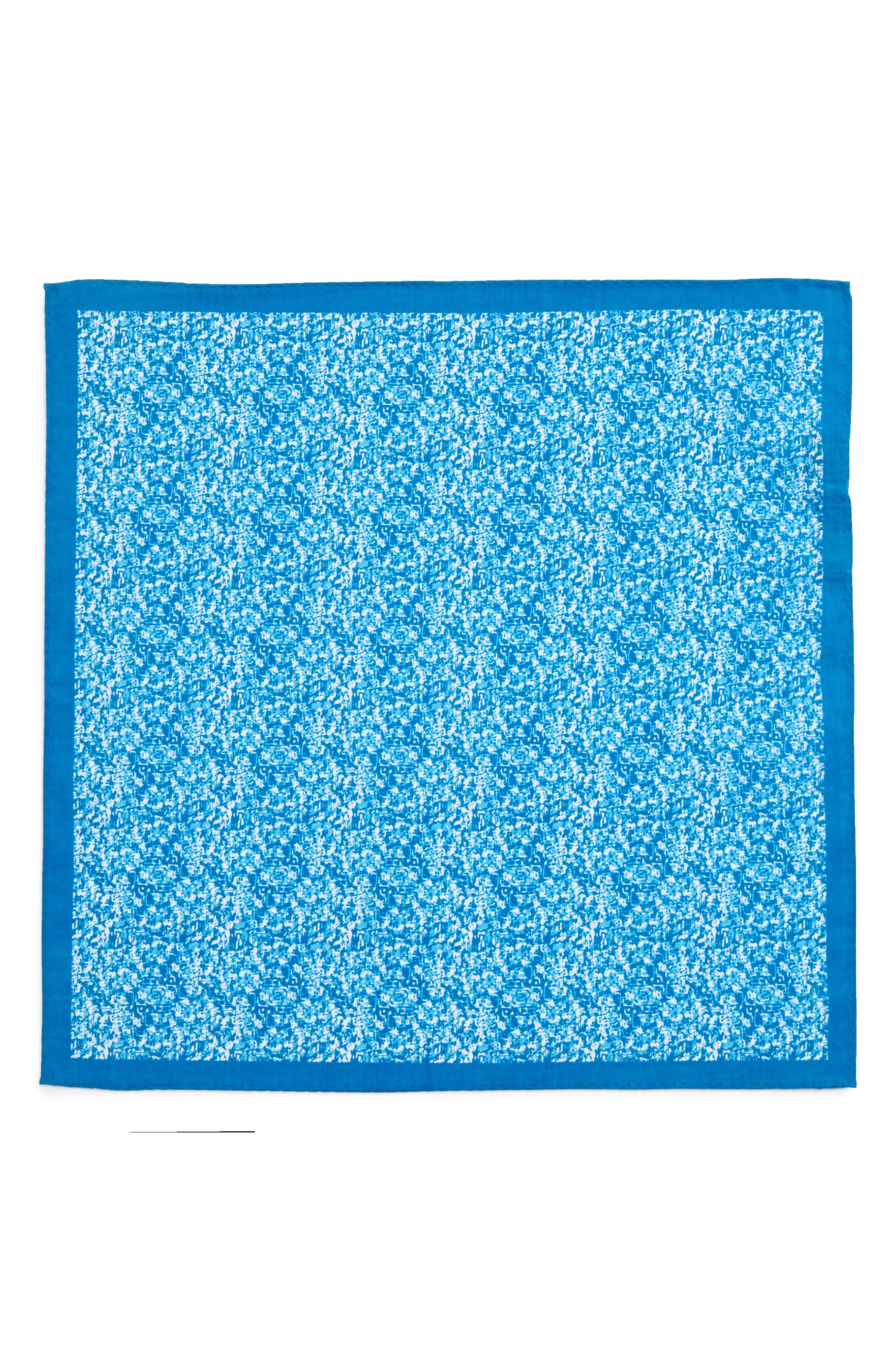 Panso Print Cotton Pocket Square,                             Alternate thumbnail 3, color,                             Aqua