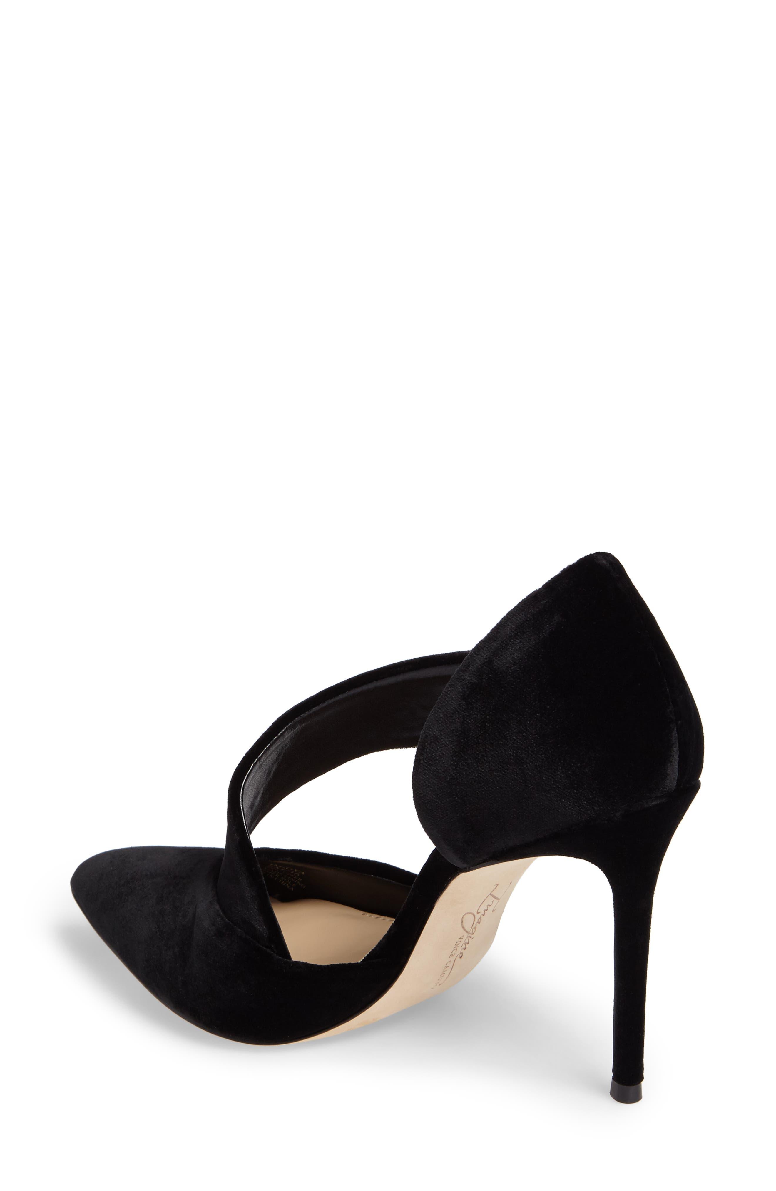 Oya Asymmetrical Pointy Toe Pump,                             Alternate thumbnail 2, color,                             Black Velvet