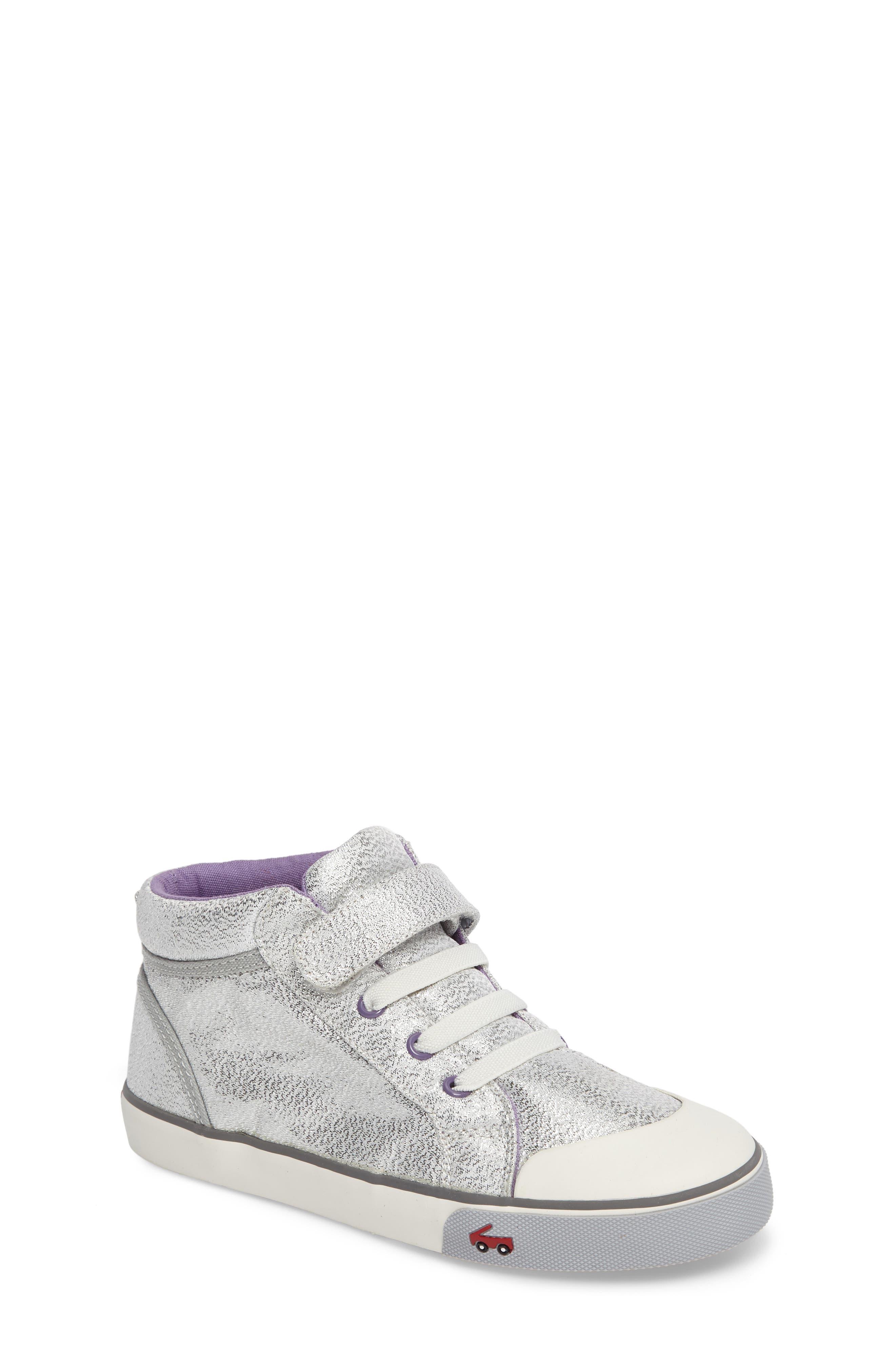 Peyton Metallic Mid Top Sneaker,                             Main thumbnail 1, color,                             Silver