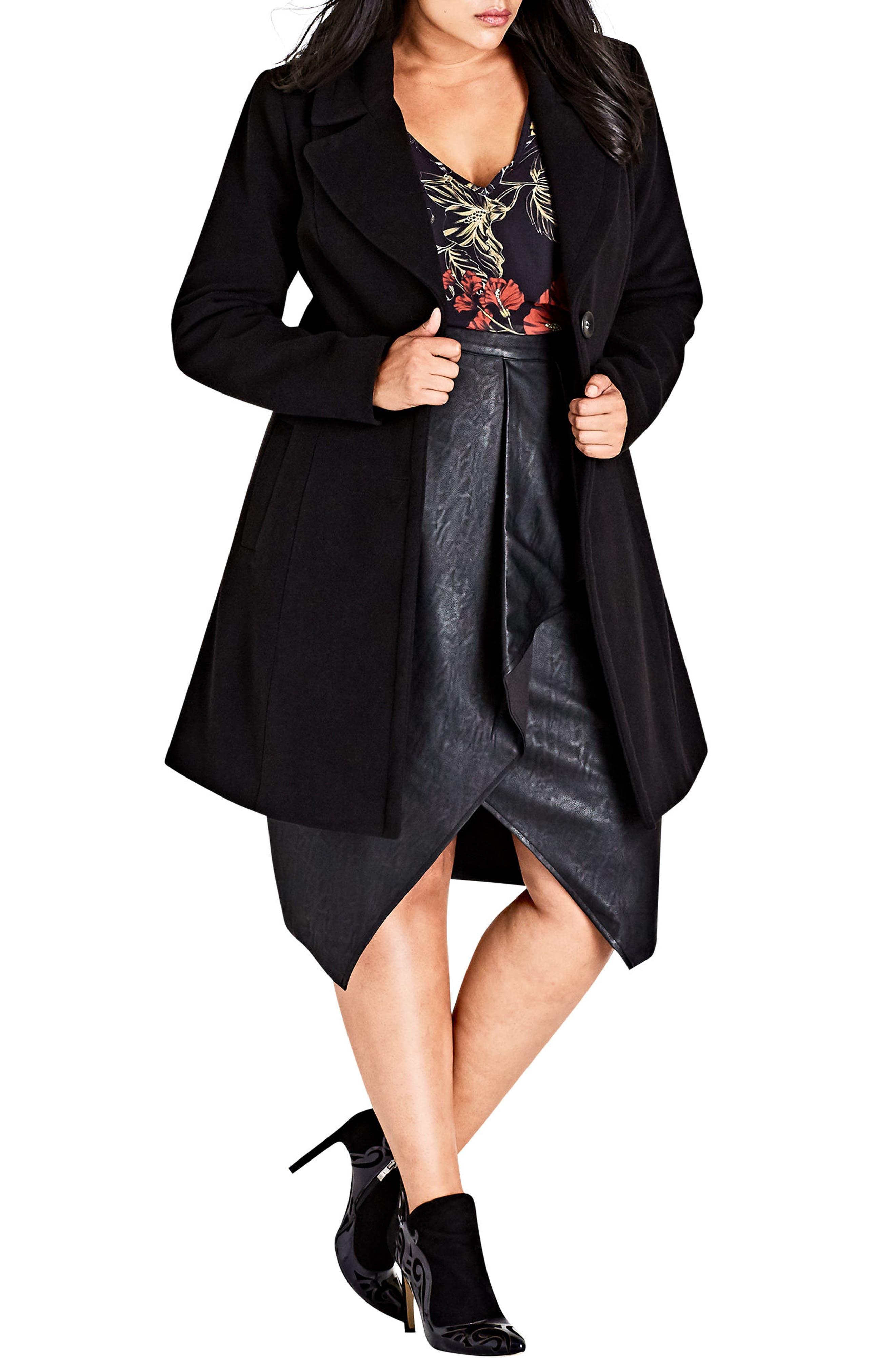Main Image - City Chic Midnight Escape Coat (Plus Size)