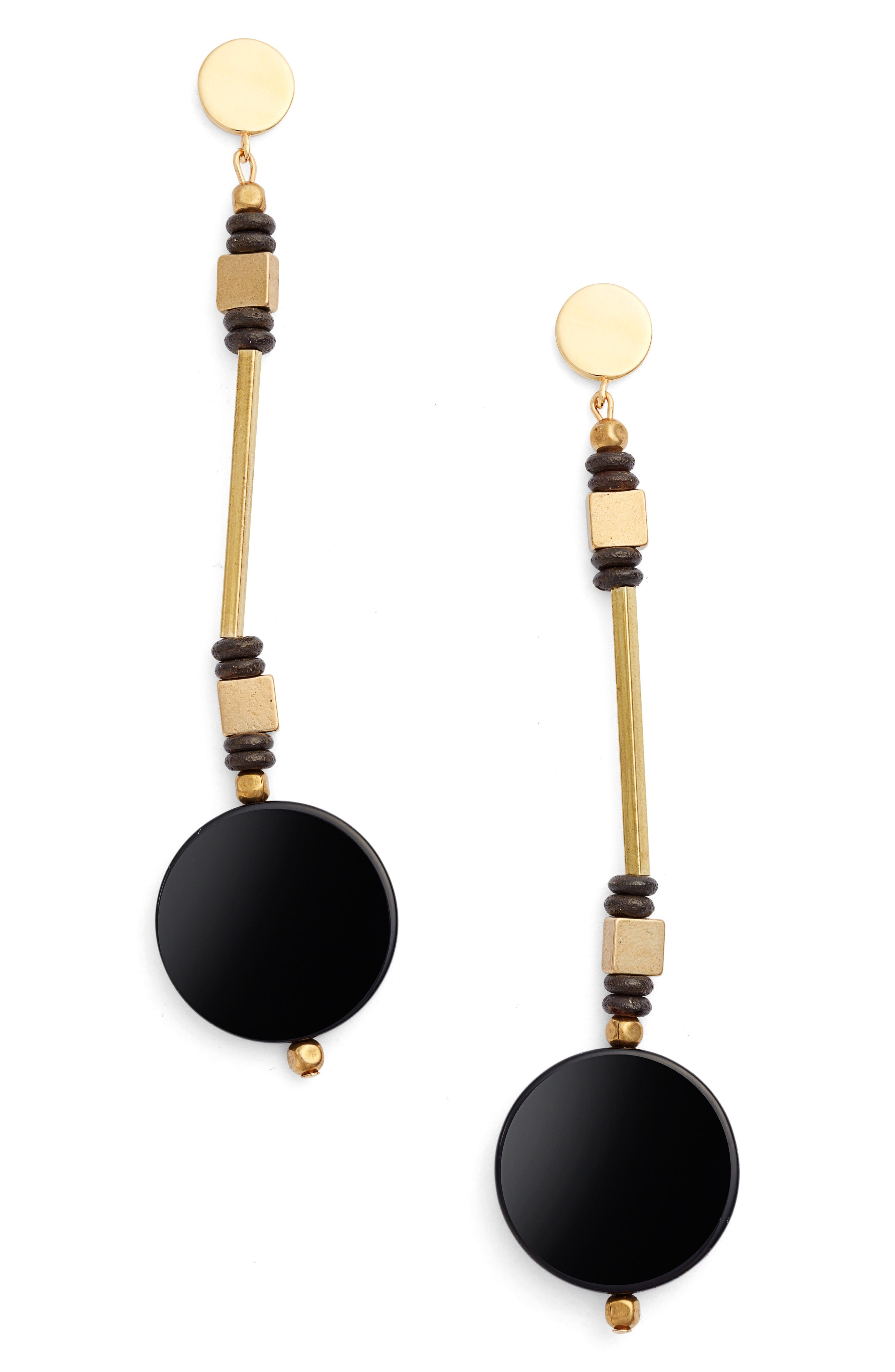 Coco Drop Earrings,                         Main,                         color, Black/ Gold