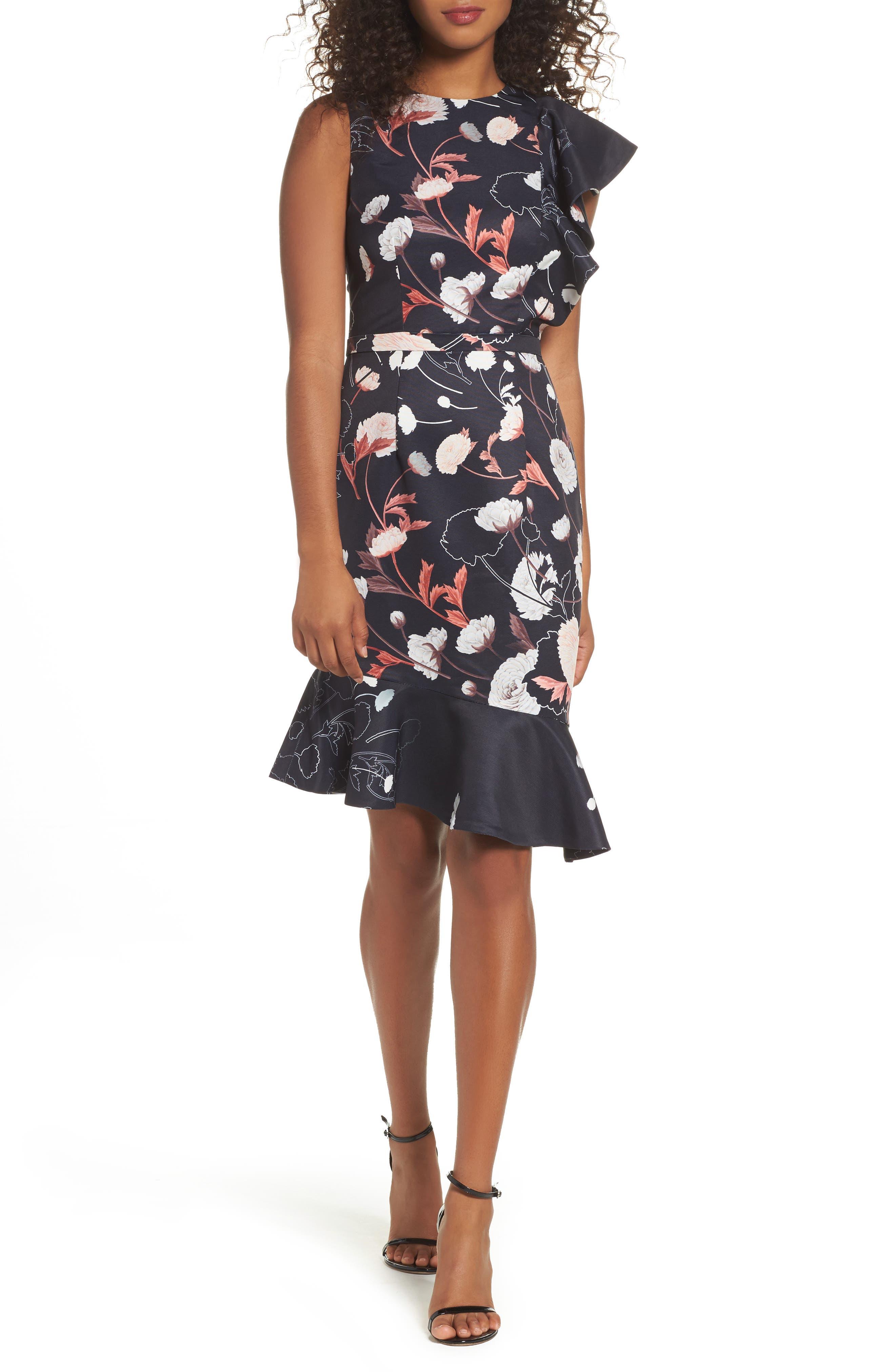 Amaya Ruffle Sheath Dress,                         Main,                         color, Print
