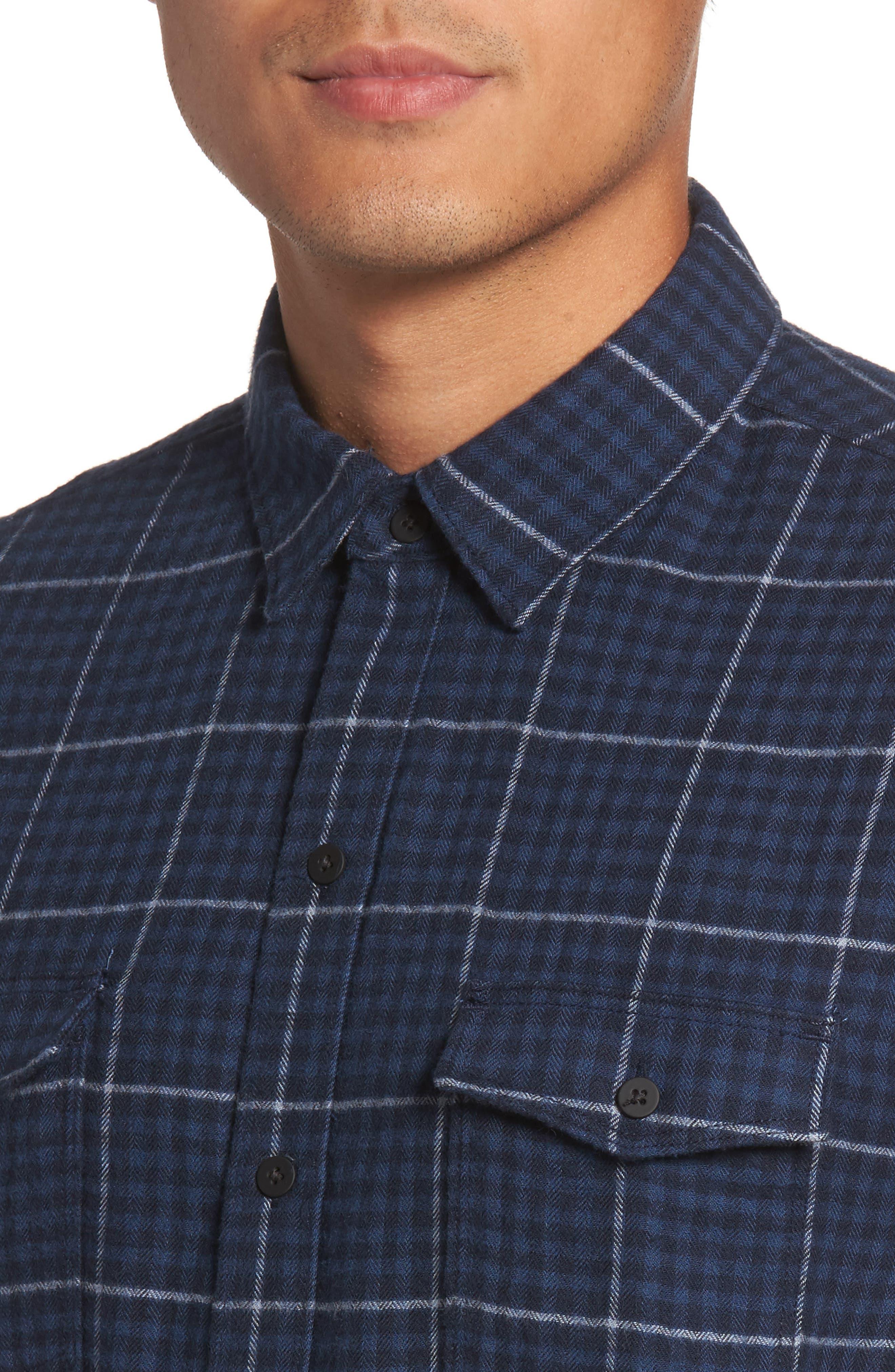 Everett Tattersall Check Sport Shirt,                             Alternate thumbnail 4, color,                             Blue Echo