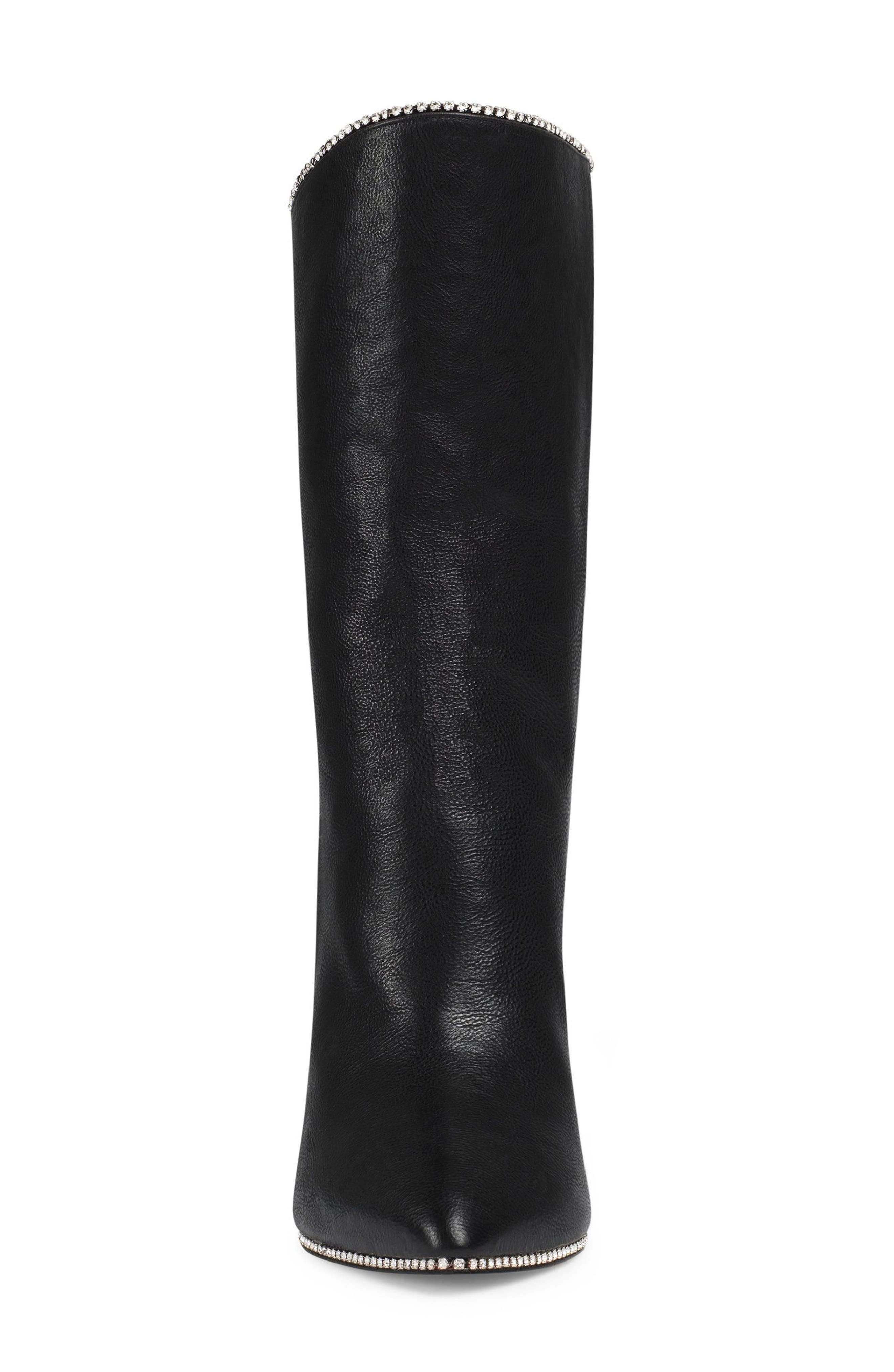 Fosca Crystal Embellished Pointy Toe Boot,                             Alternate thumbnail 3, color,                             Black