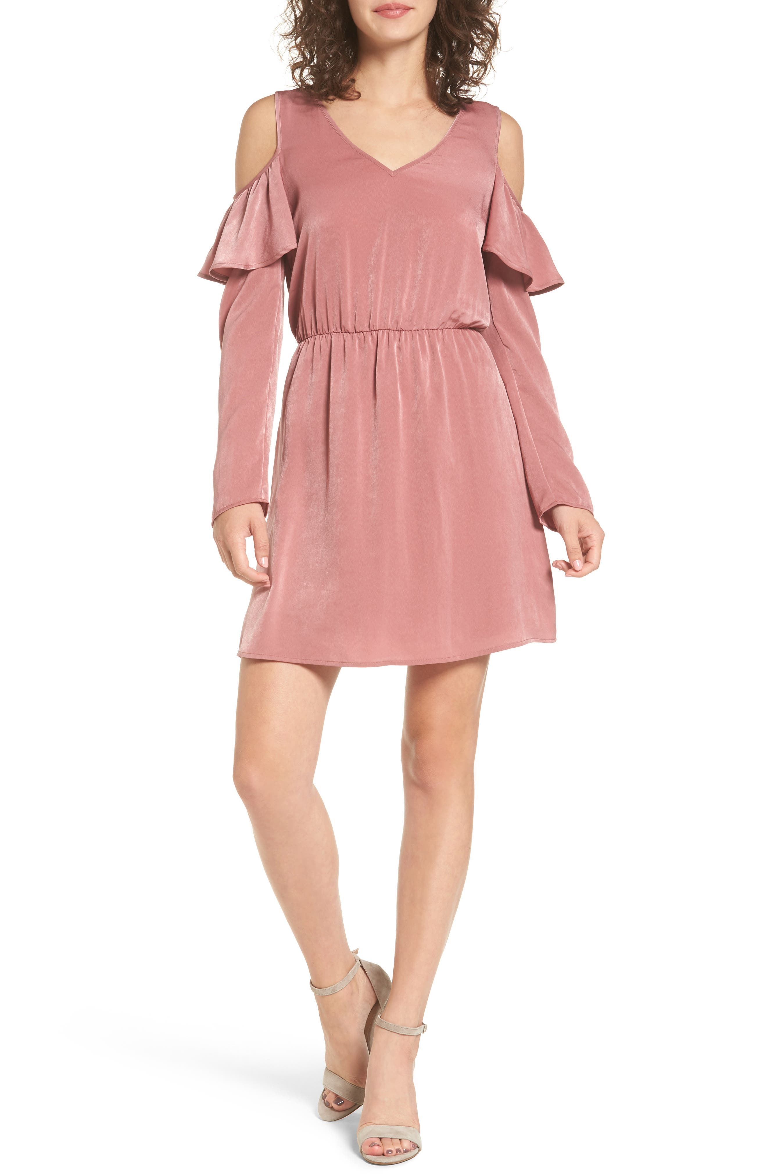 EVERLY Ruffle Satin Cold Shoulder Dress