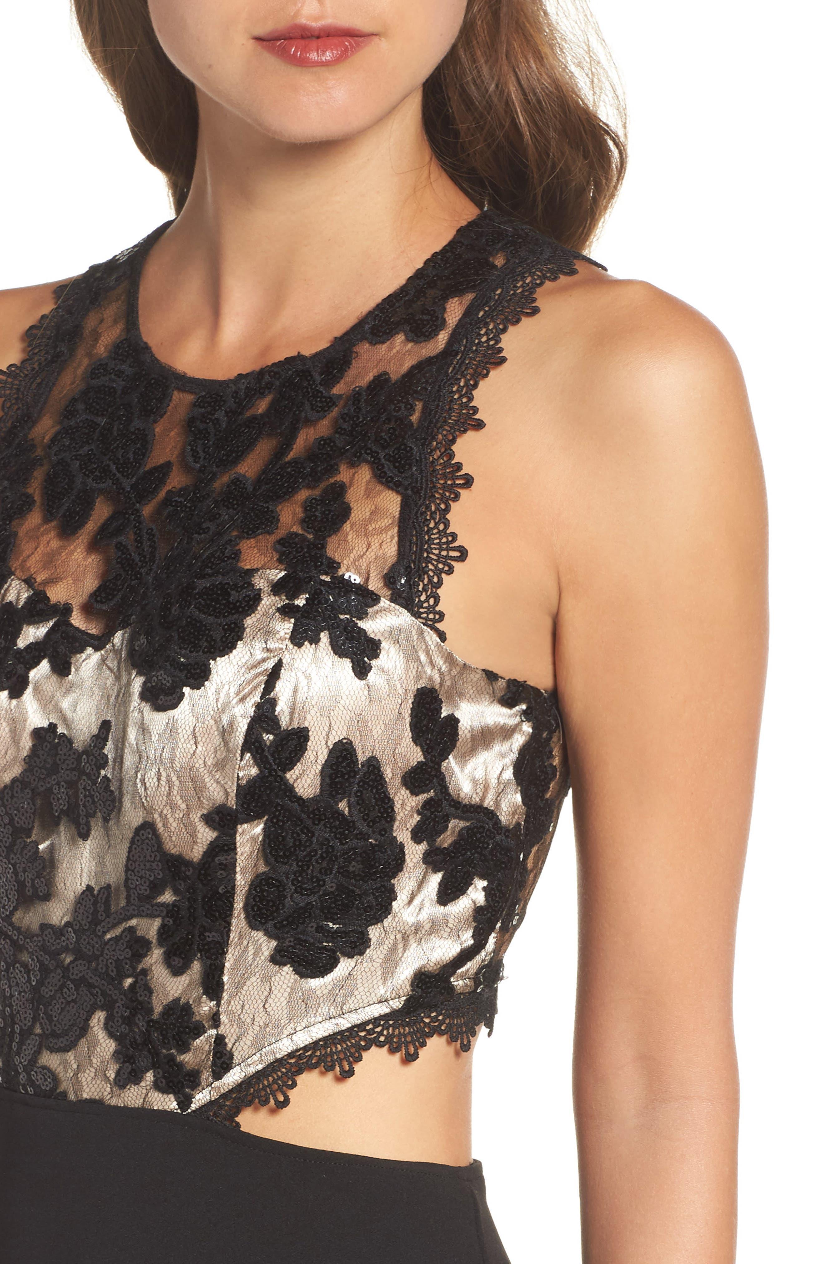 Cutout Embellished Lace & Scuba Gown,                             Alternate thumbnail 4, color,                             Black/ Champagne