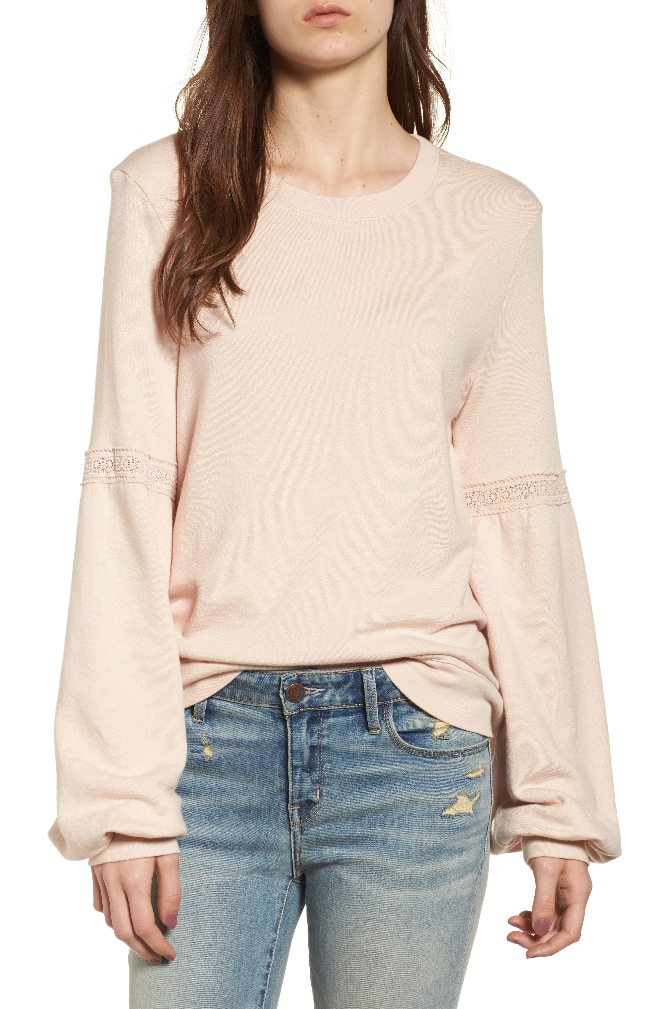 Blouson Sleeve Sweatshirt,                             Main thumbnail 1, color,                             Ivory Shell