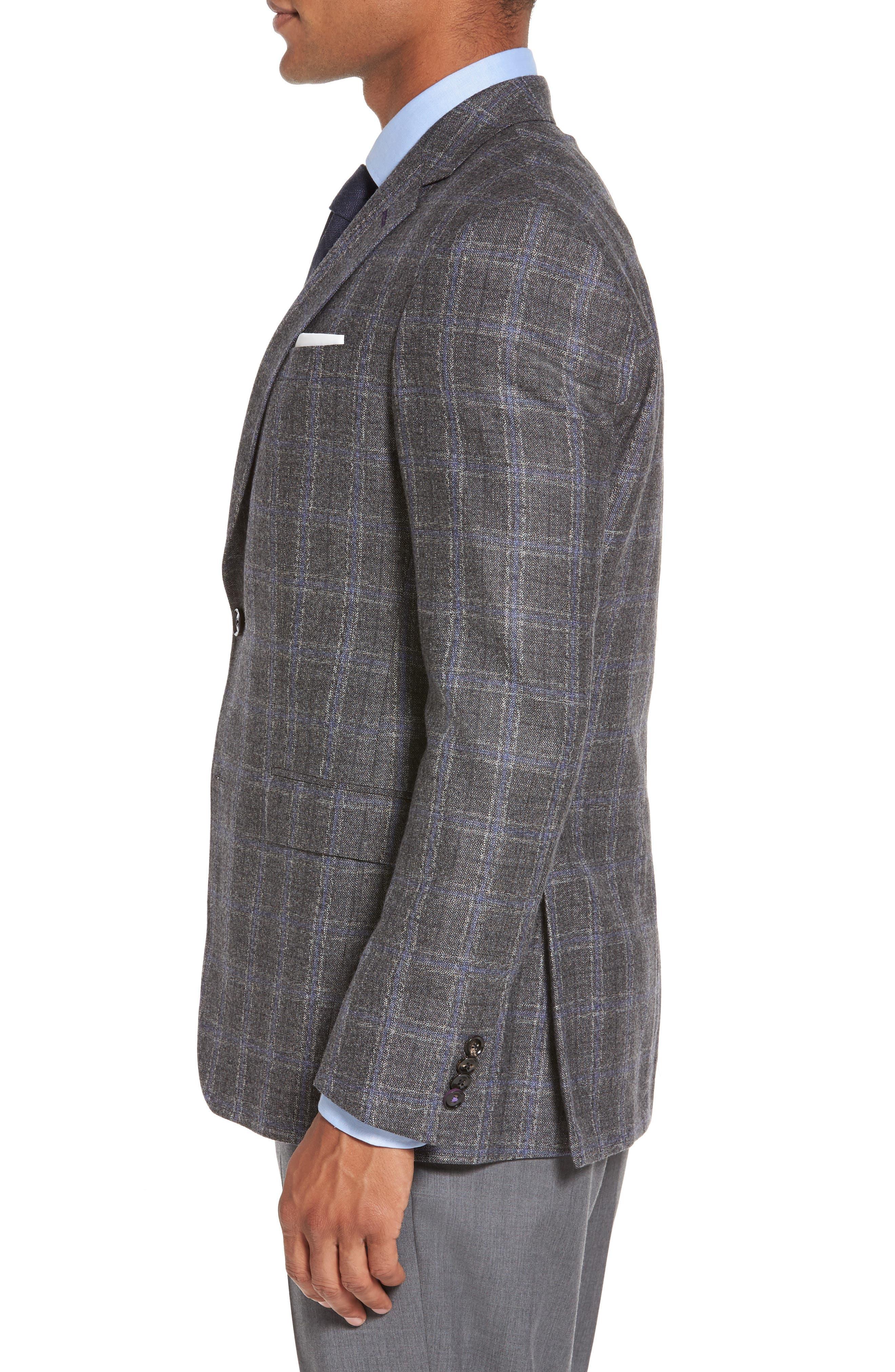 Tivoli Trim Fit Plaid Wool Sport Coat,                             Alternate thumbnail 3, color,                             Light Grey
