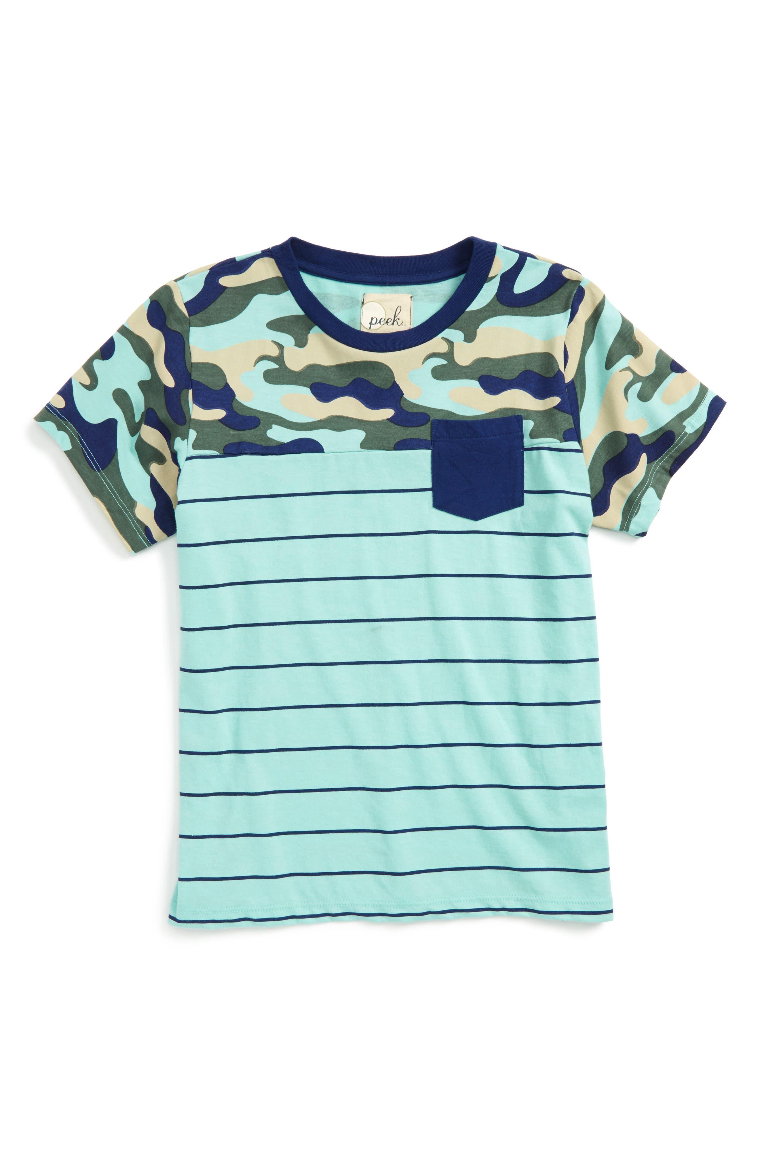 Brett Camo Pocket T-Shirt,                         Main,                         color, Aqua