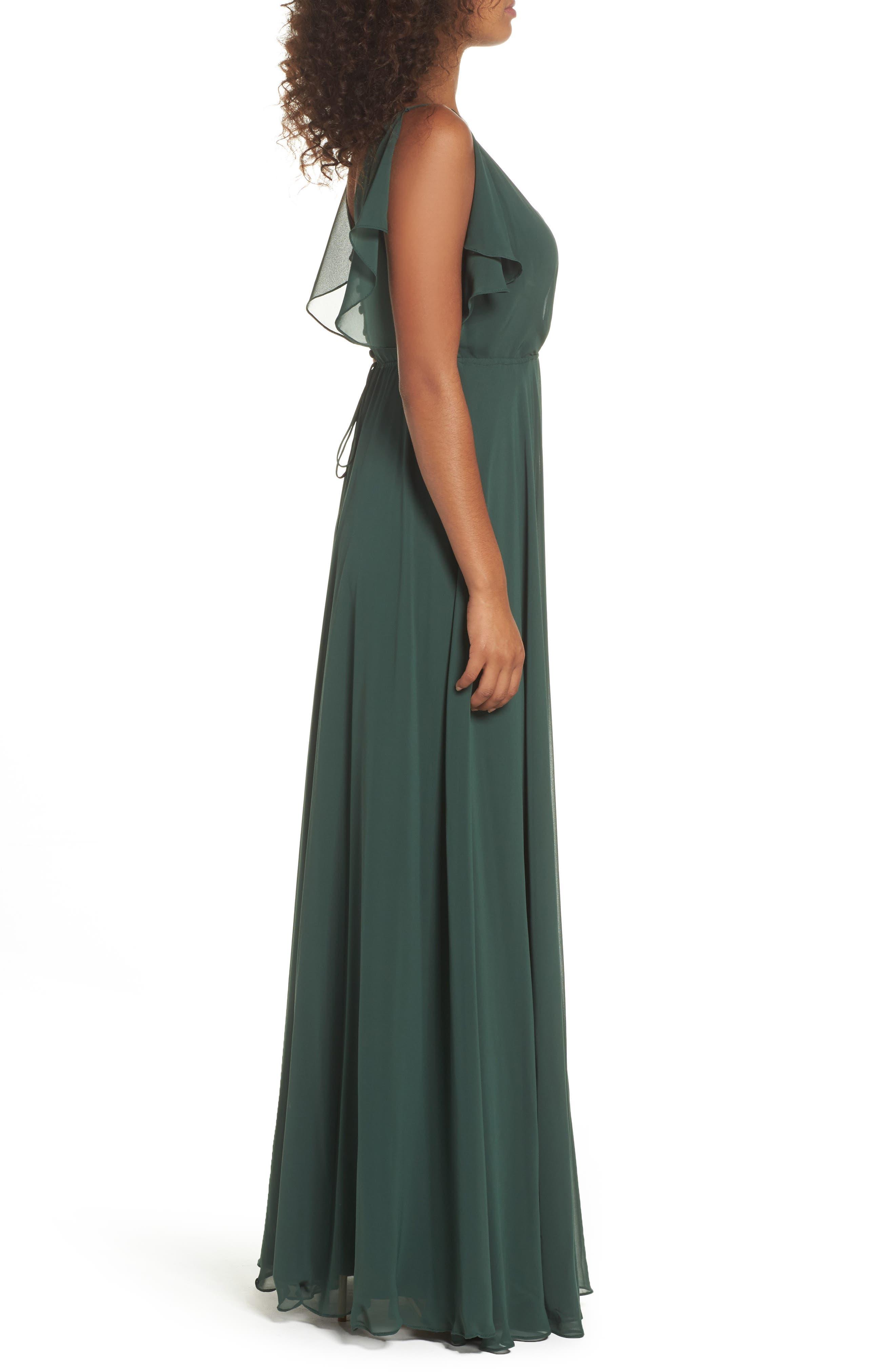 Cassie Flutter Sleeve Chiffon A-Line Gown,                             Alternate thumbnail 3, color,                             Forrest