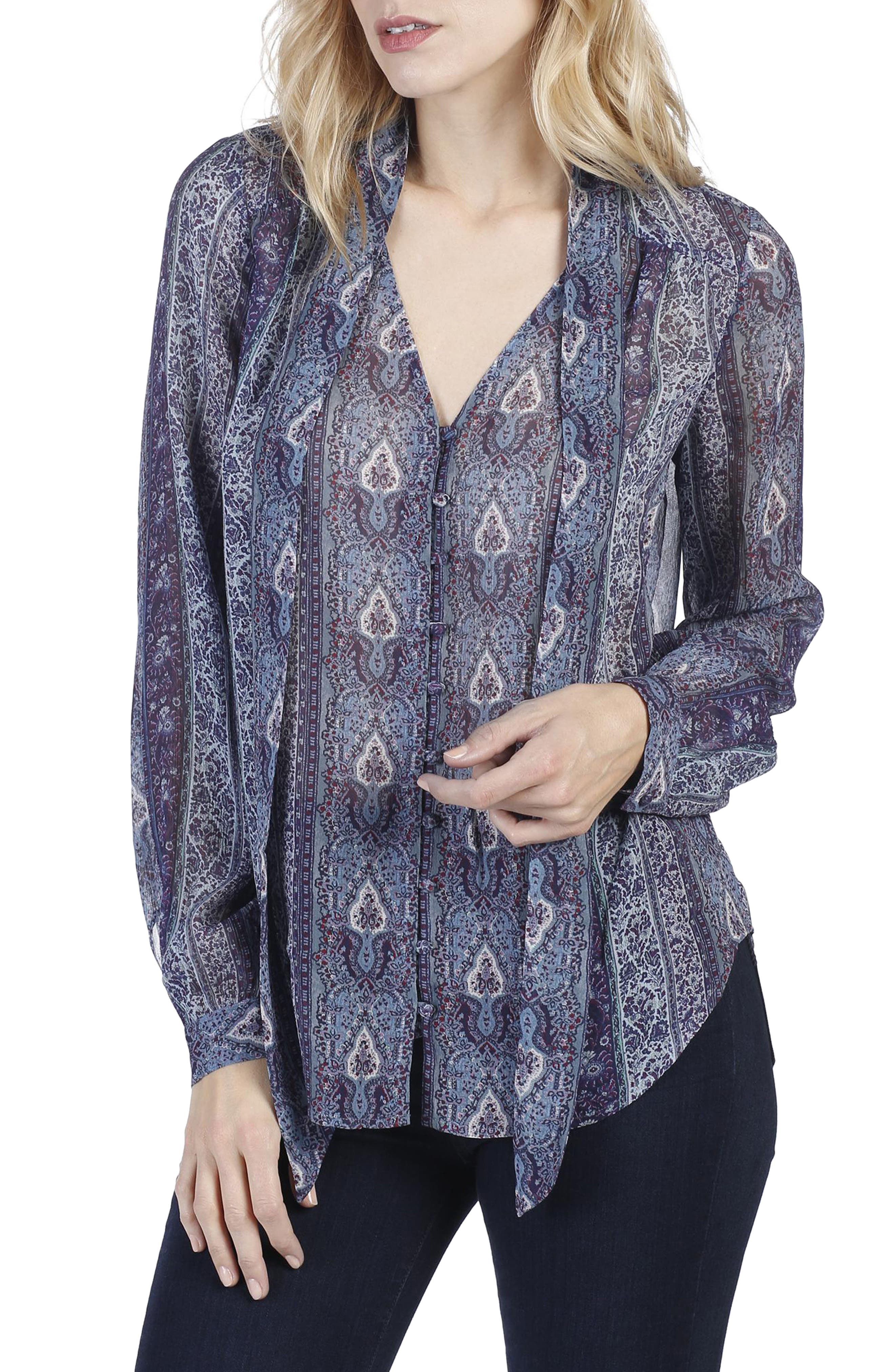Dion Silk Georgette Blouse,                             Main thumbnail 1, color,                             India Ink Multi