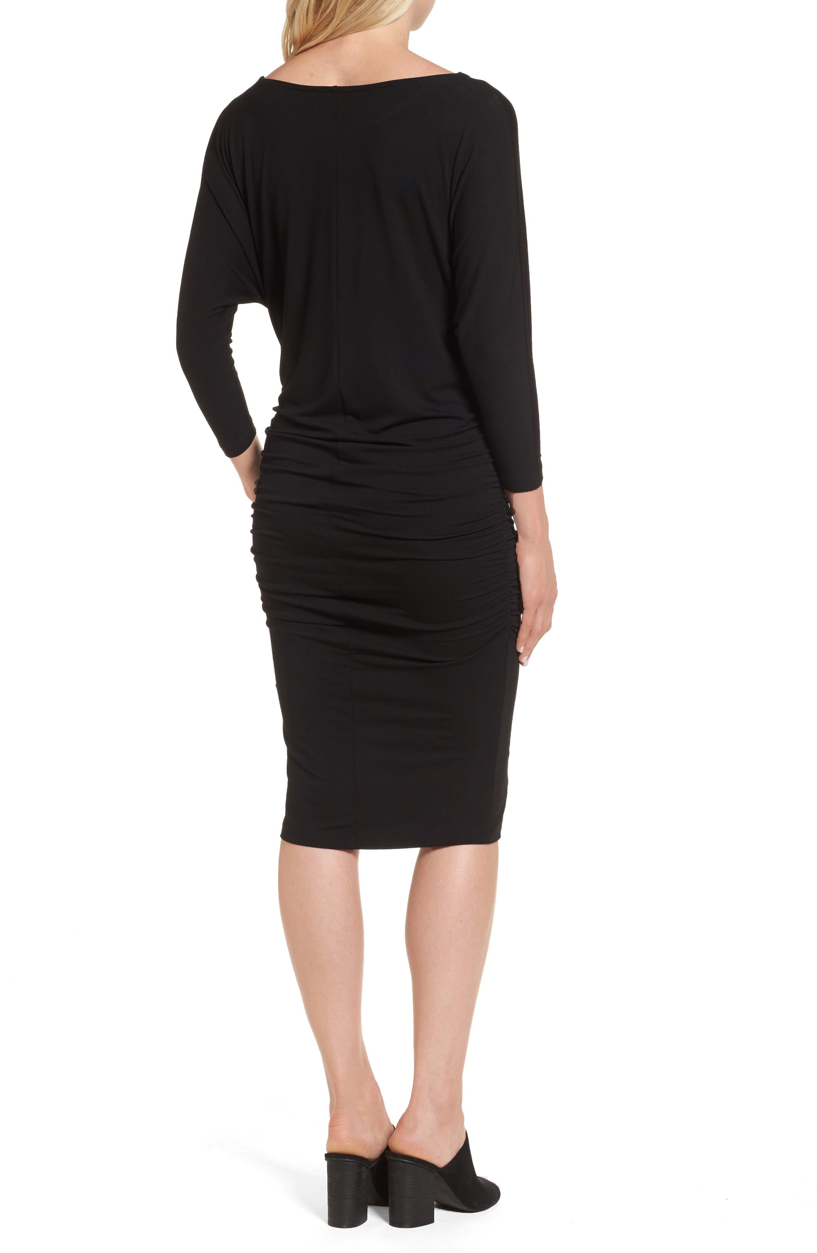 Jessa Maternity Dress,                             Alternate thumbnail 2, color,                             Caviar Black