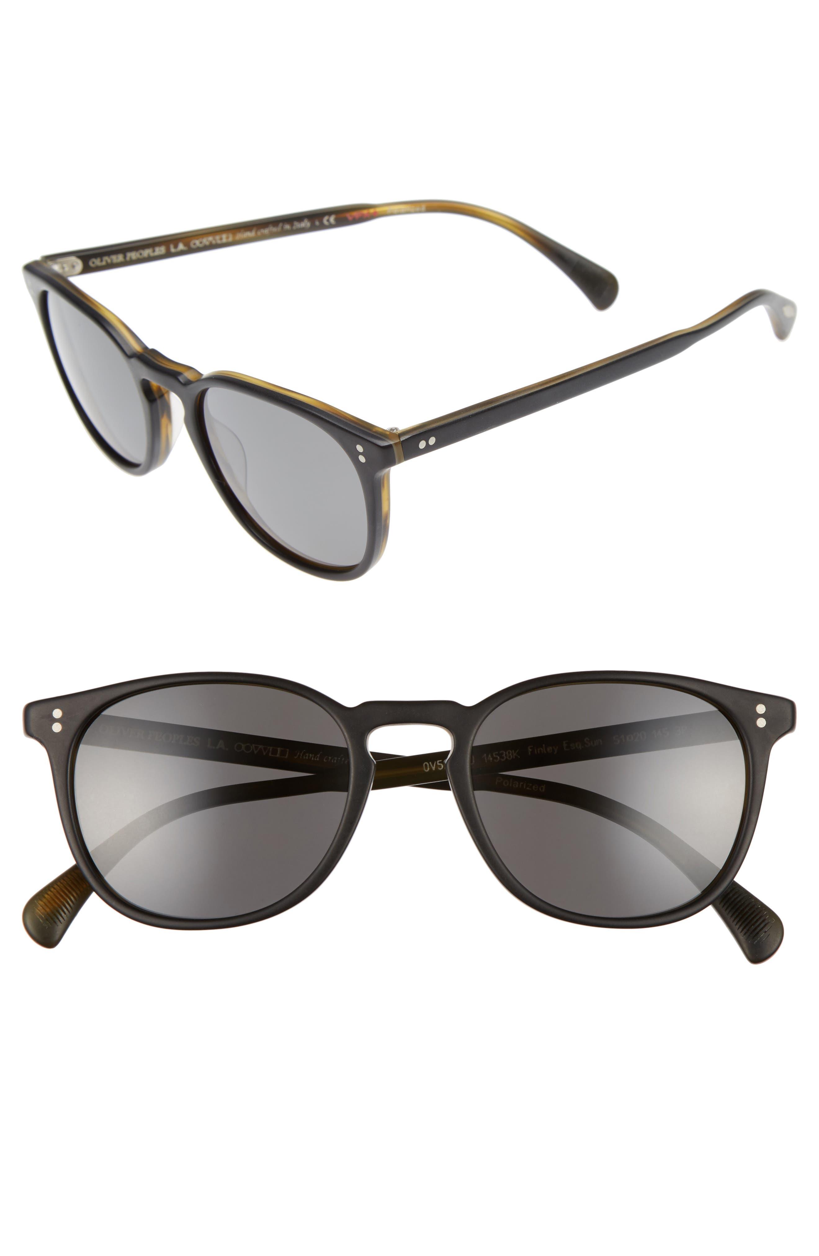 Finley 51mm Retro Polarized Sunglasses,                             Main thumbnail 1, color,                             Black