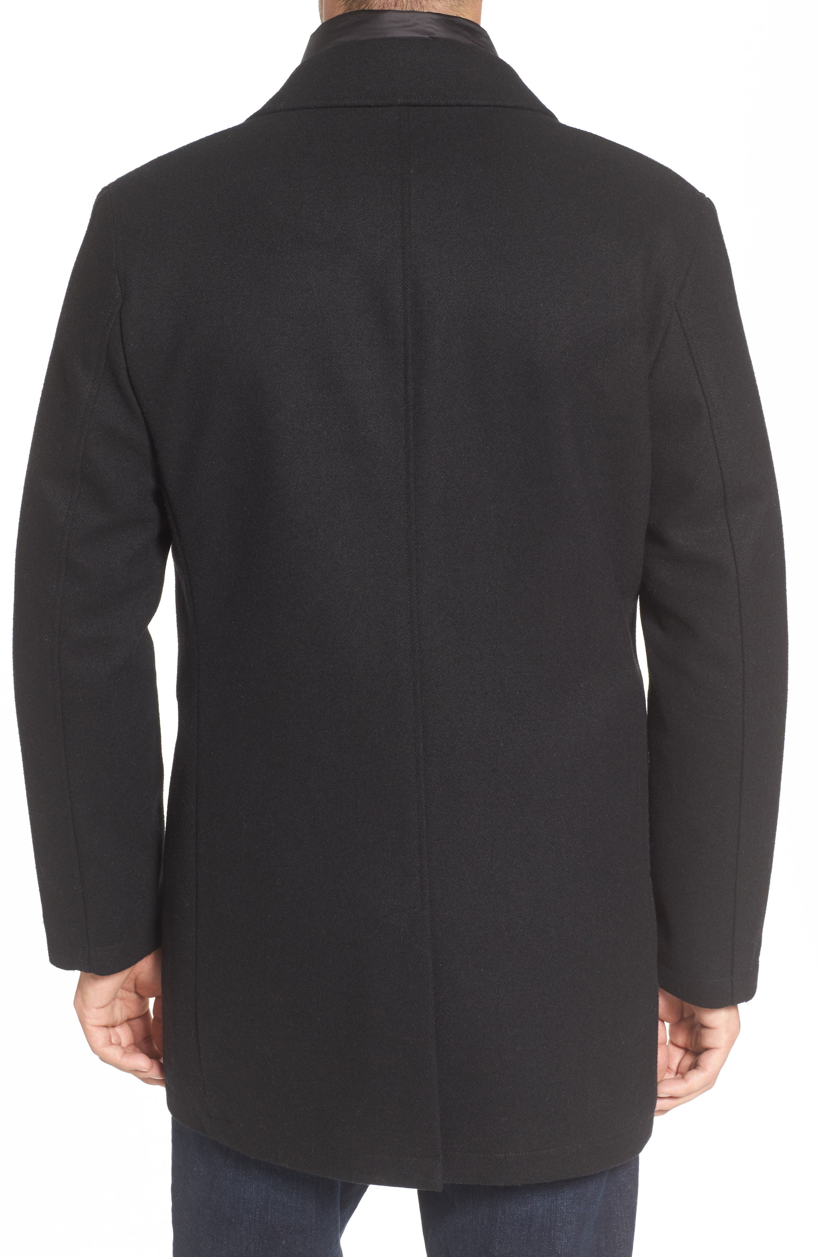 Water Repellent Jacket with Inset Bib & Faux Fur Lining,                             Alternate thumbnail 2, color,                             Black