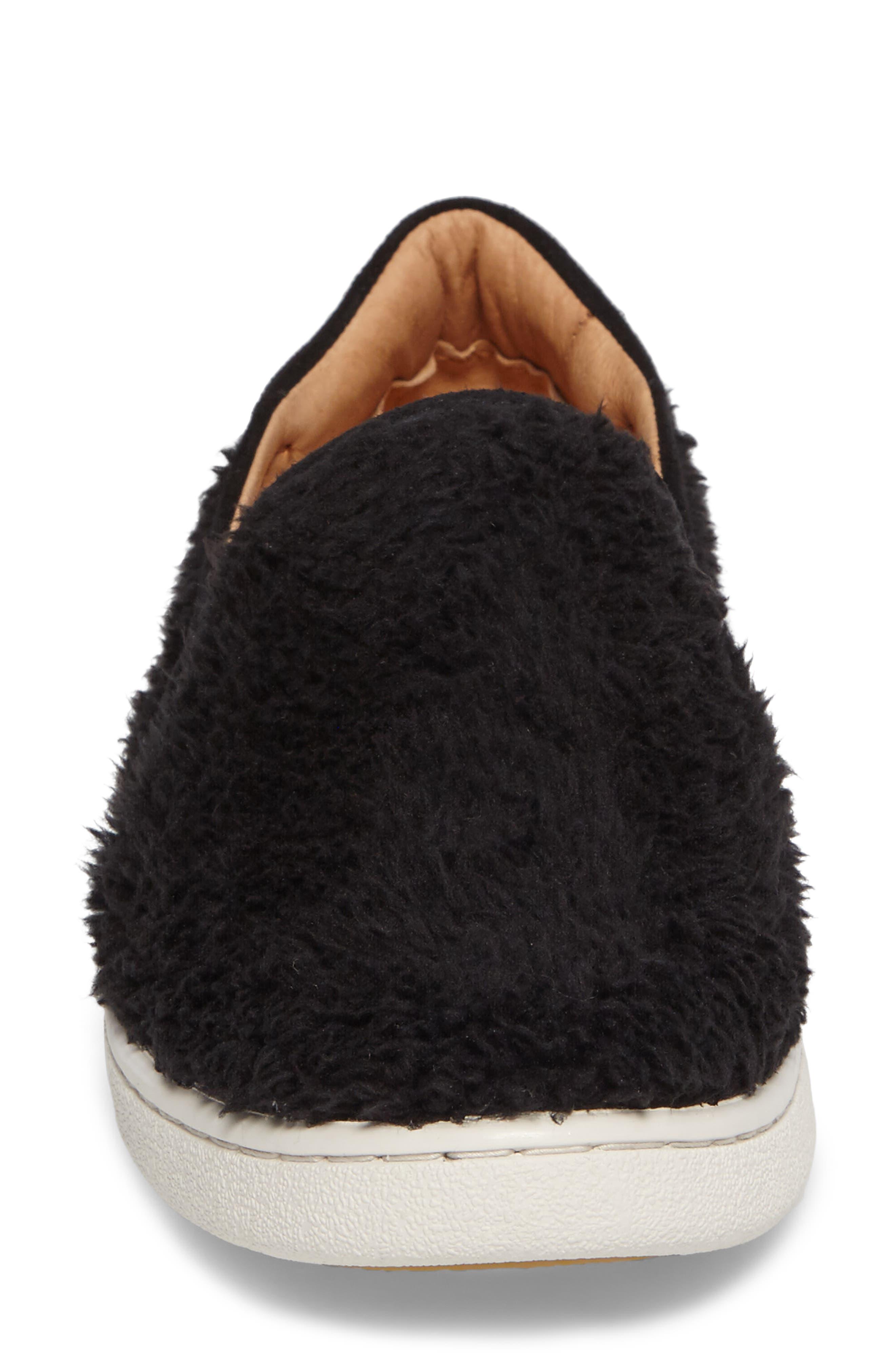 Ricci Plush Slip-On Sneaker,                             Alternate thumbnail 4, color,                             Black Fabric