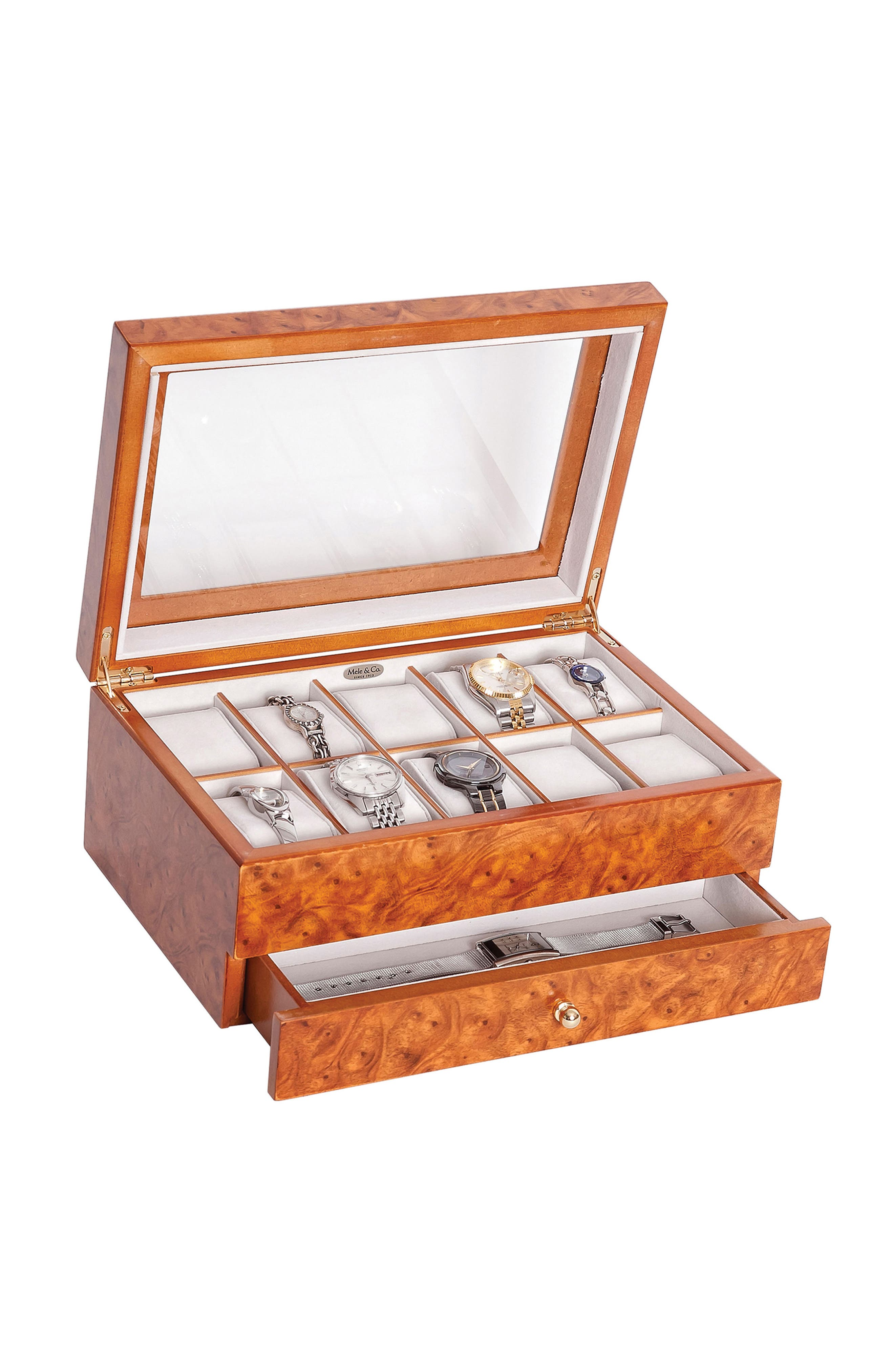 Alternate Image 3  - Mele & Co. Peyton Glass Top Watch Box