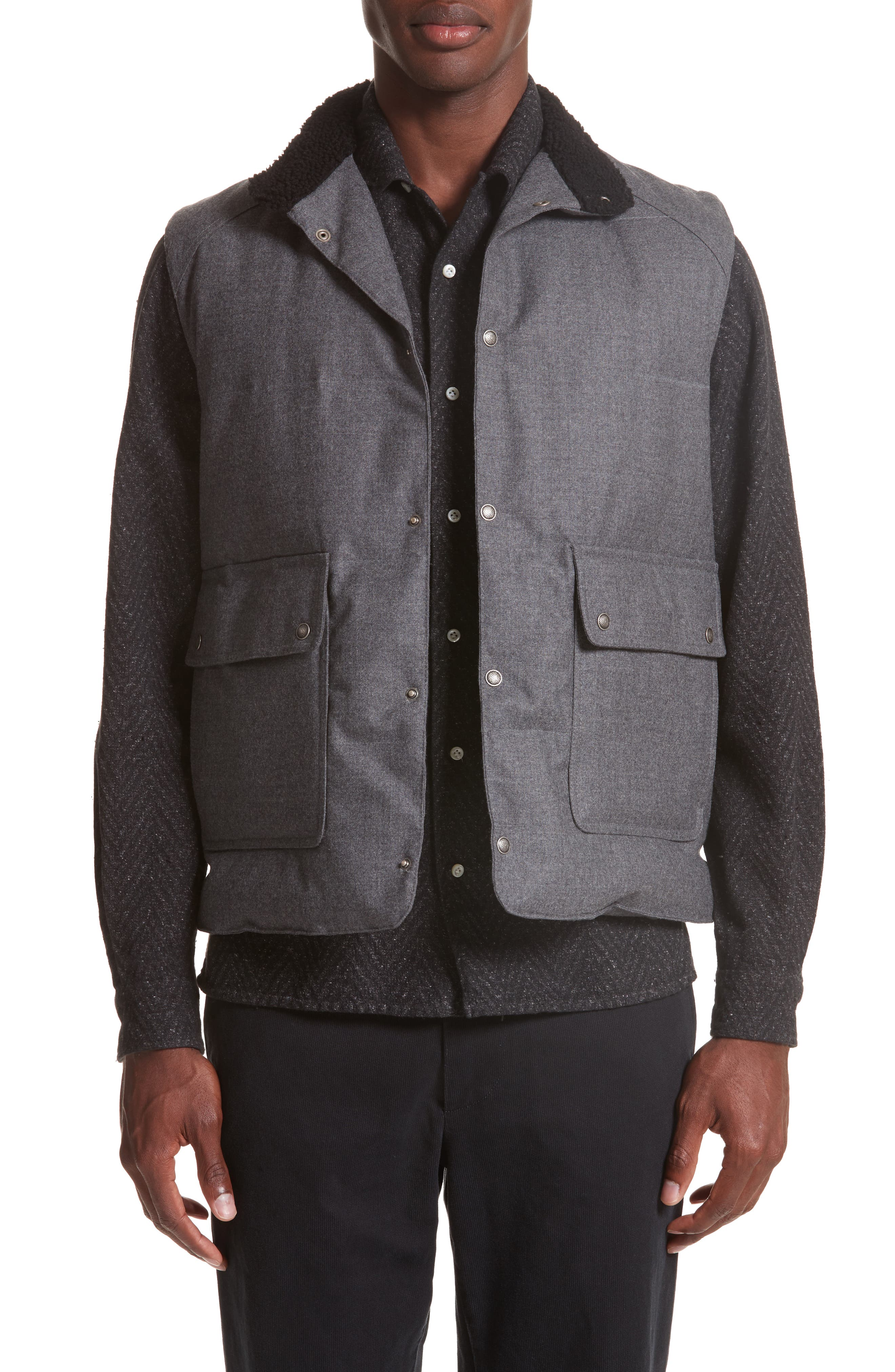 Water Resistant Wool Down Vest with Genuine Shearling Collar,                         Main,                         color, Grey