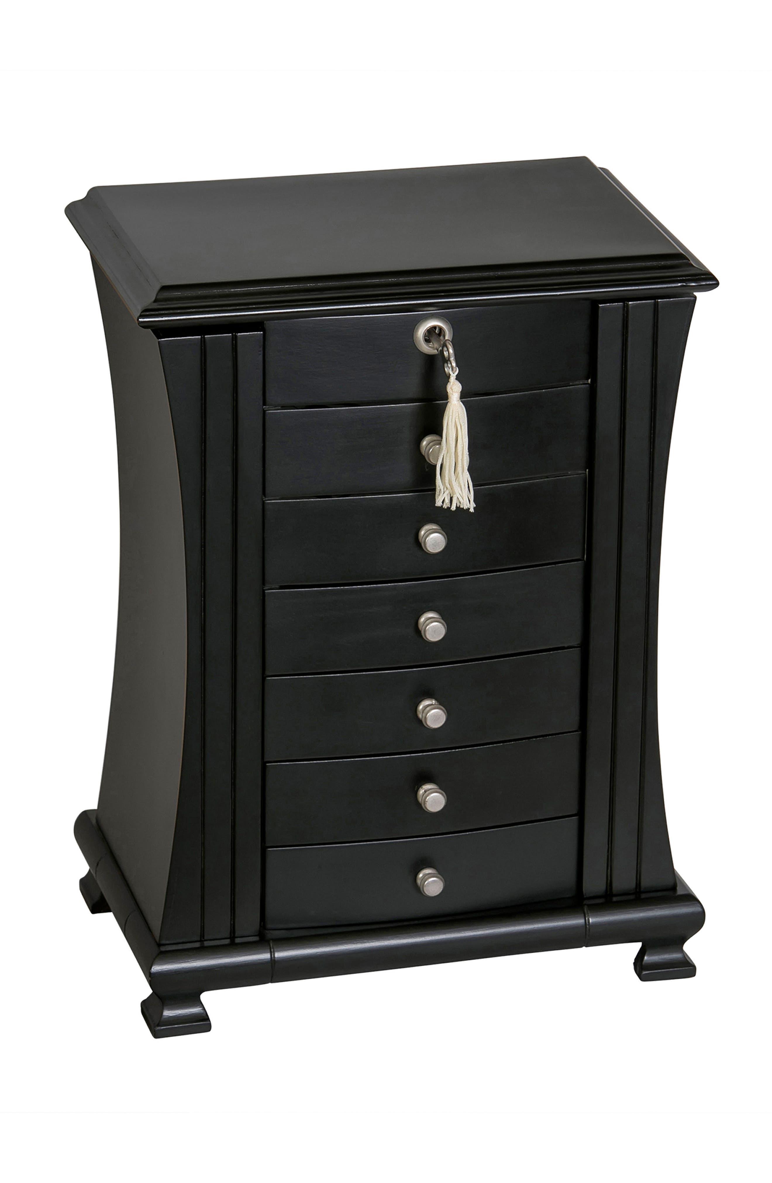 Layla Locking Jewelry Box,                         Main,                         color, Black