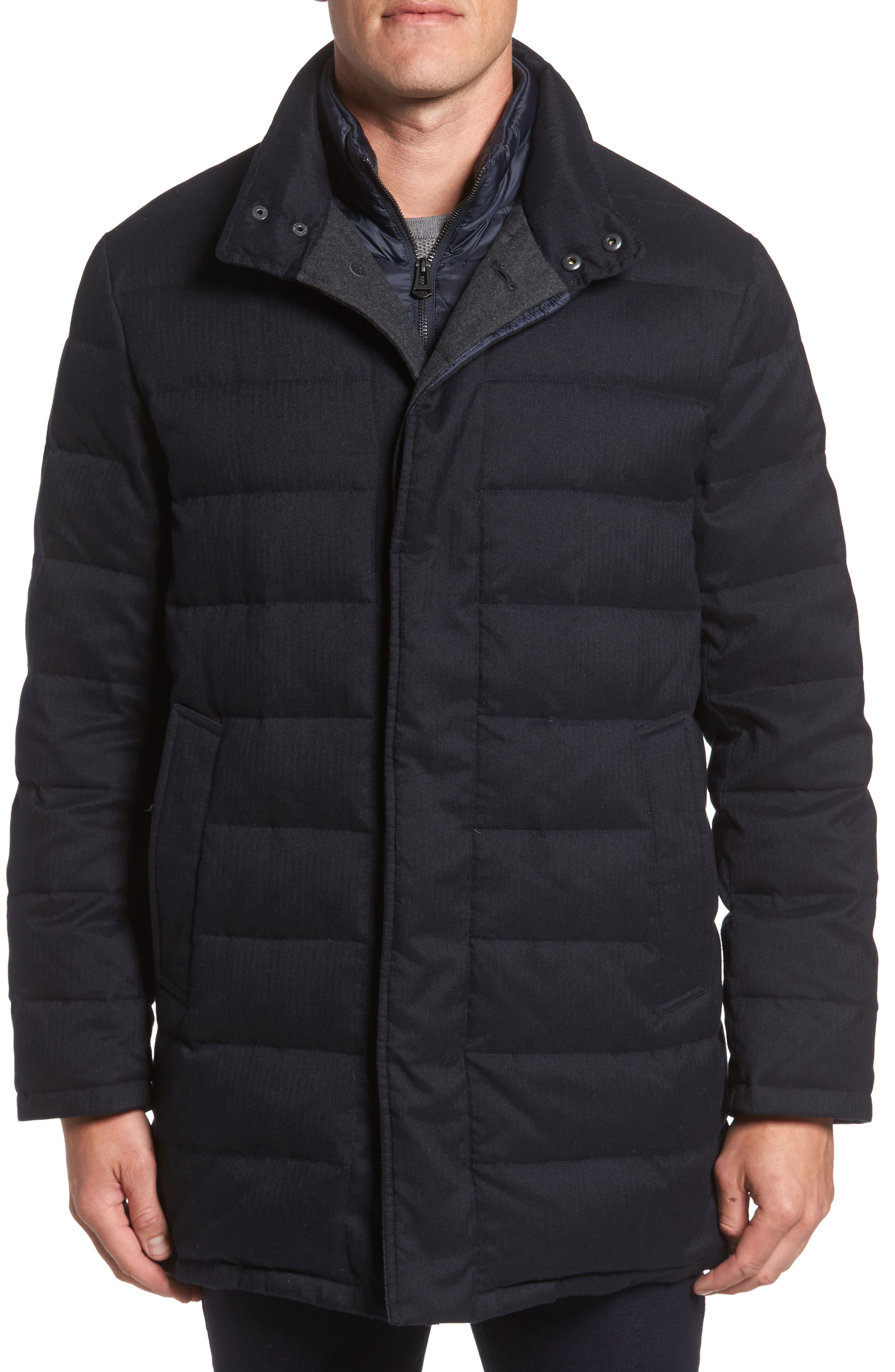Cole Haan Stand Collar Quilted Down Coat with Inset Bib