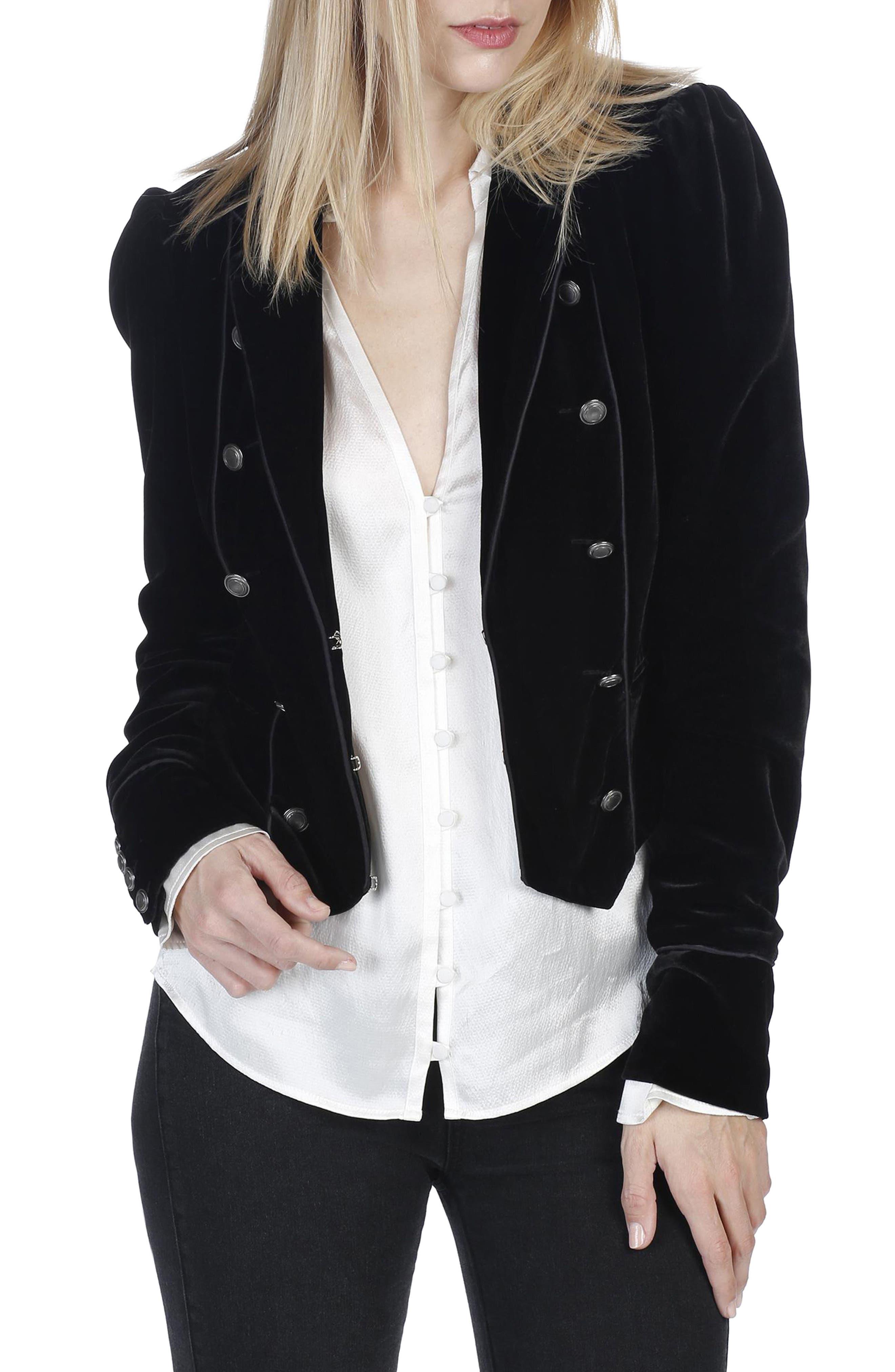 Maribel Velvet Jacket,                         Main,                         color, Black