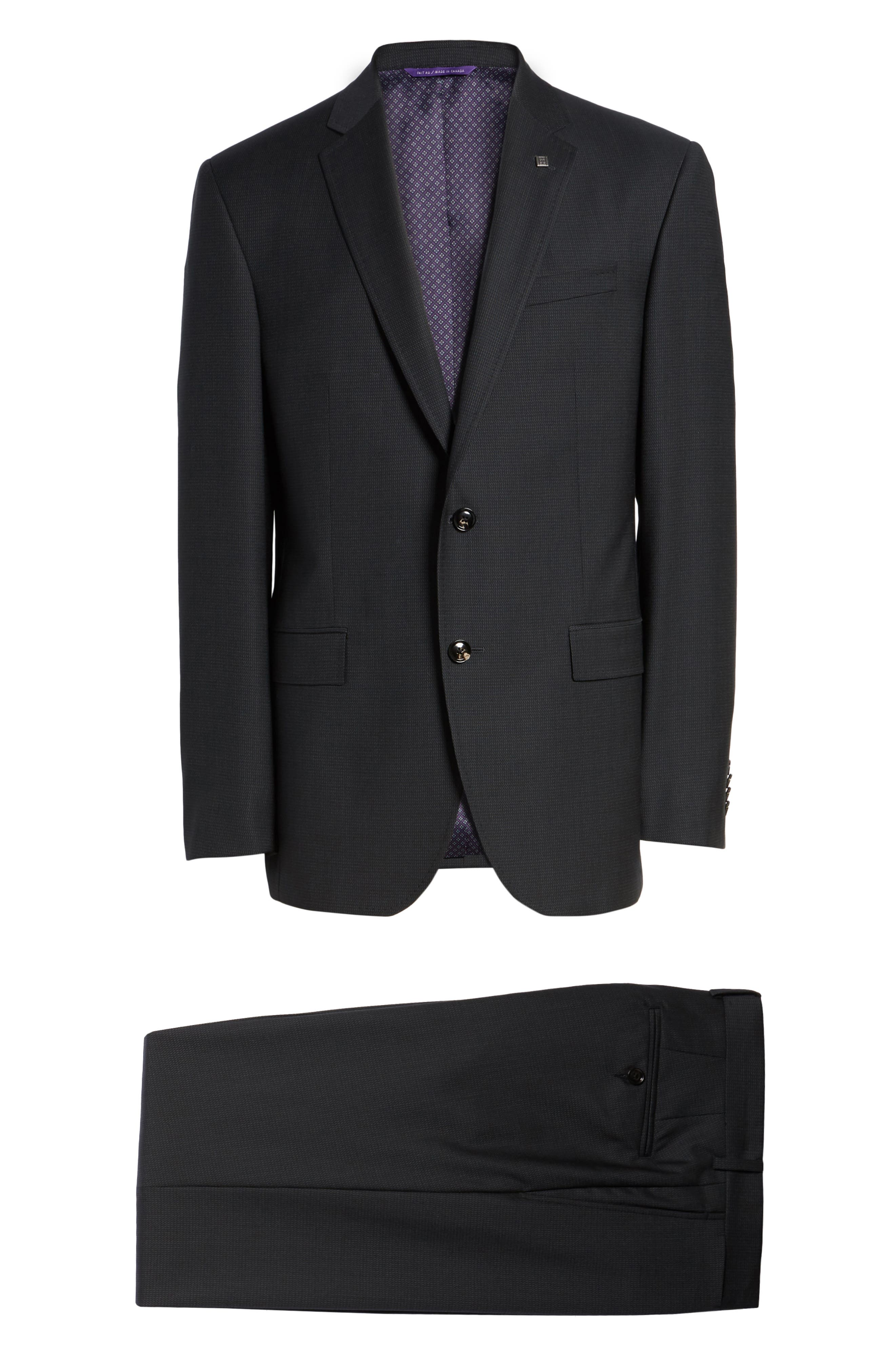 Jay Trim Fit Solid Wool Suit,                             Alternate thumbnail 8, color,                             Black Charcoal