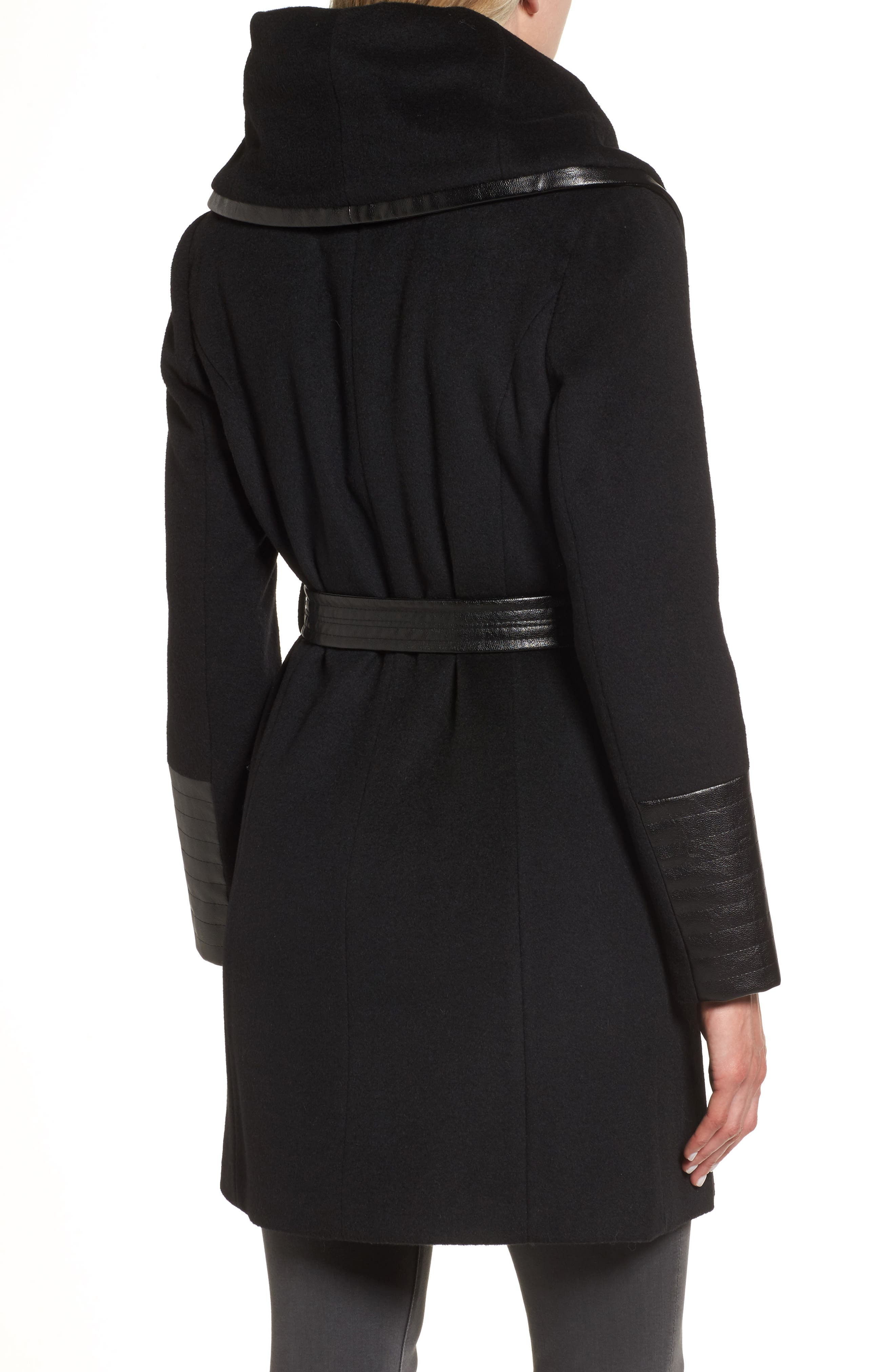 Wool Blend Coat,                             Alternate thumbnail 2, color,                             Black