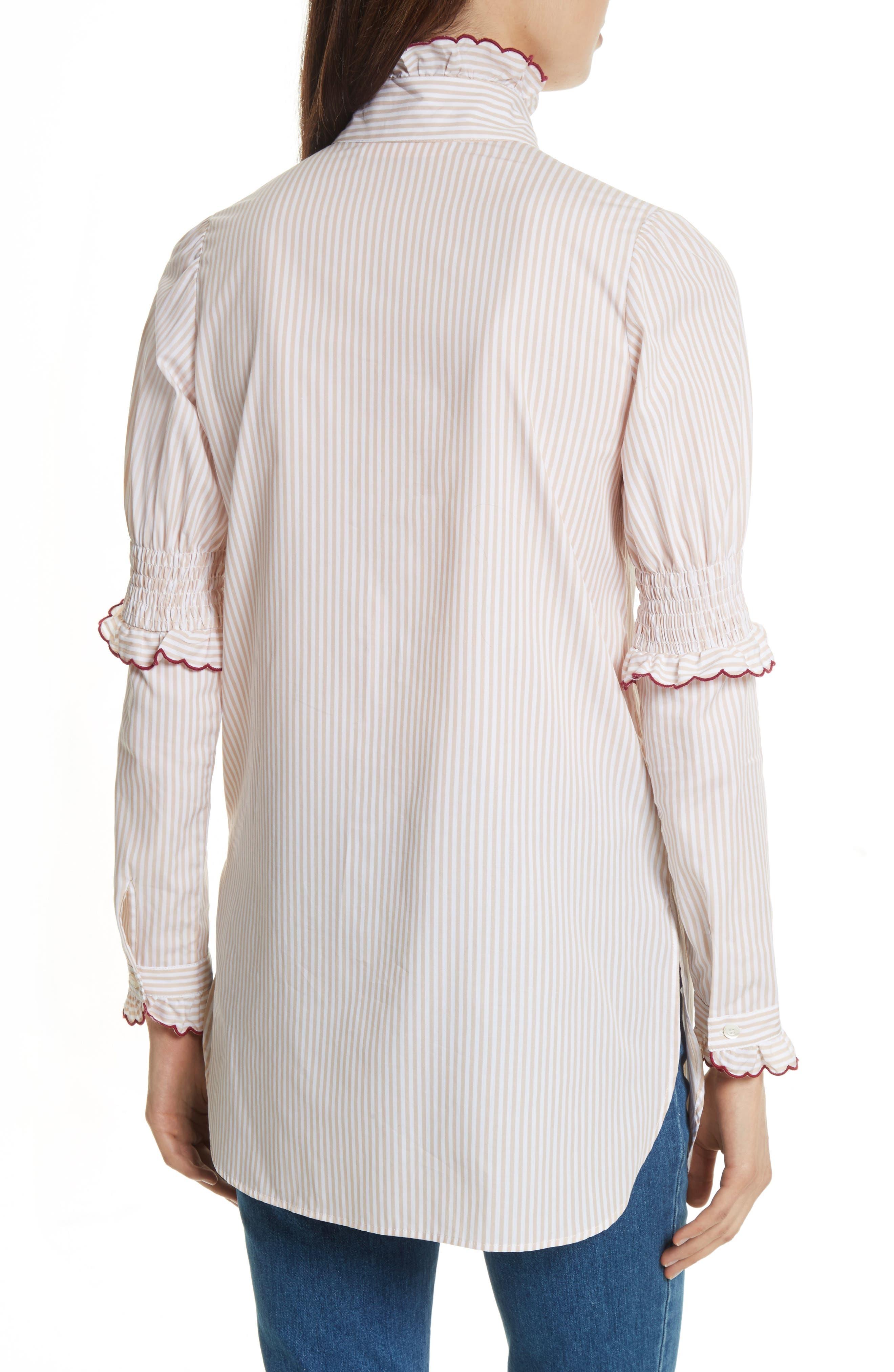 Stripe Cotton Shirt,                             Alternate thumbnail 2, color,                             Beige-White