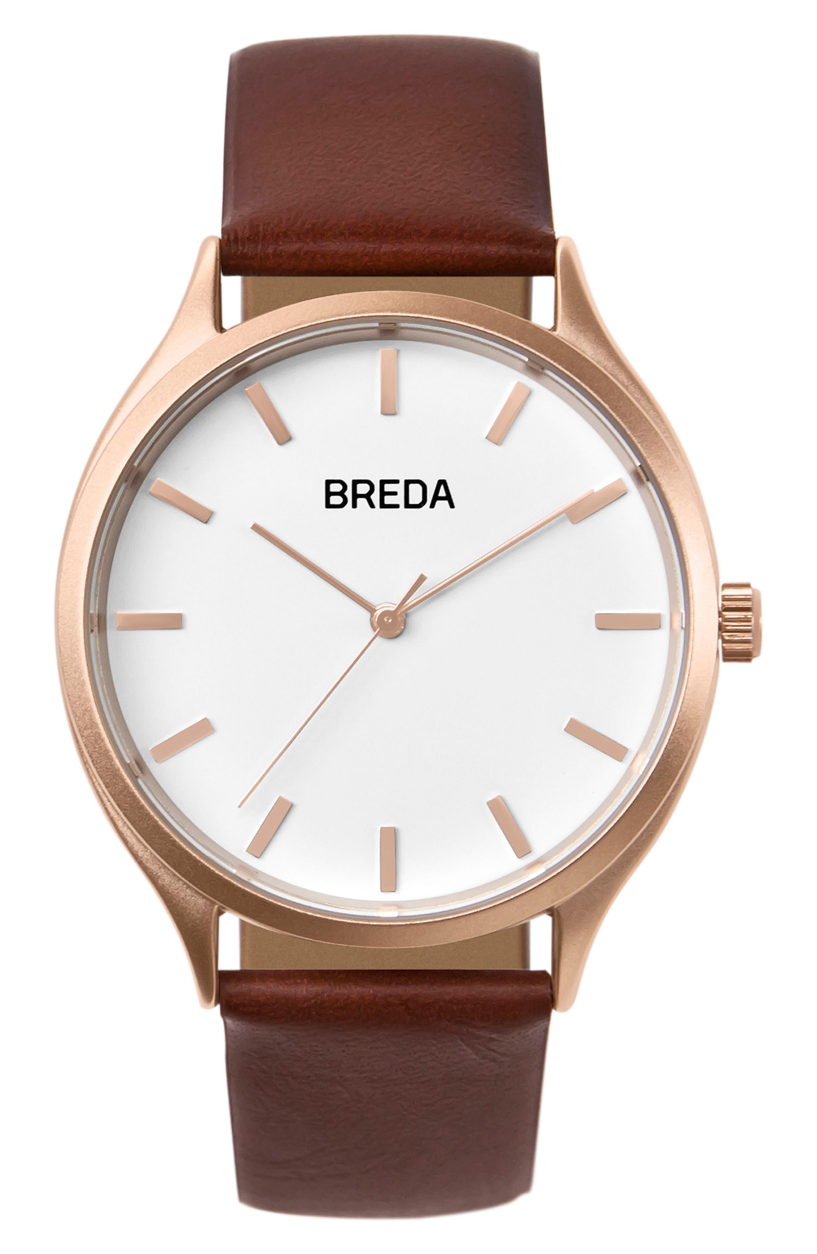 Main Image - BREDA Asper Round Leather Strap Watch, 40mm
