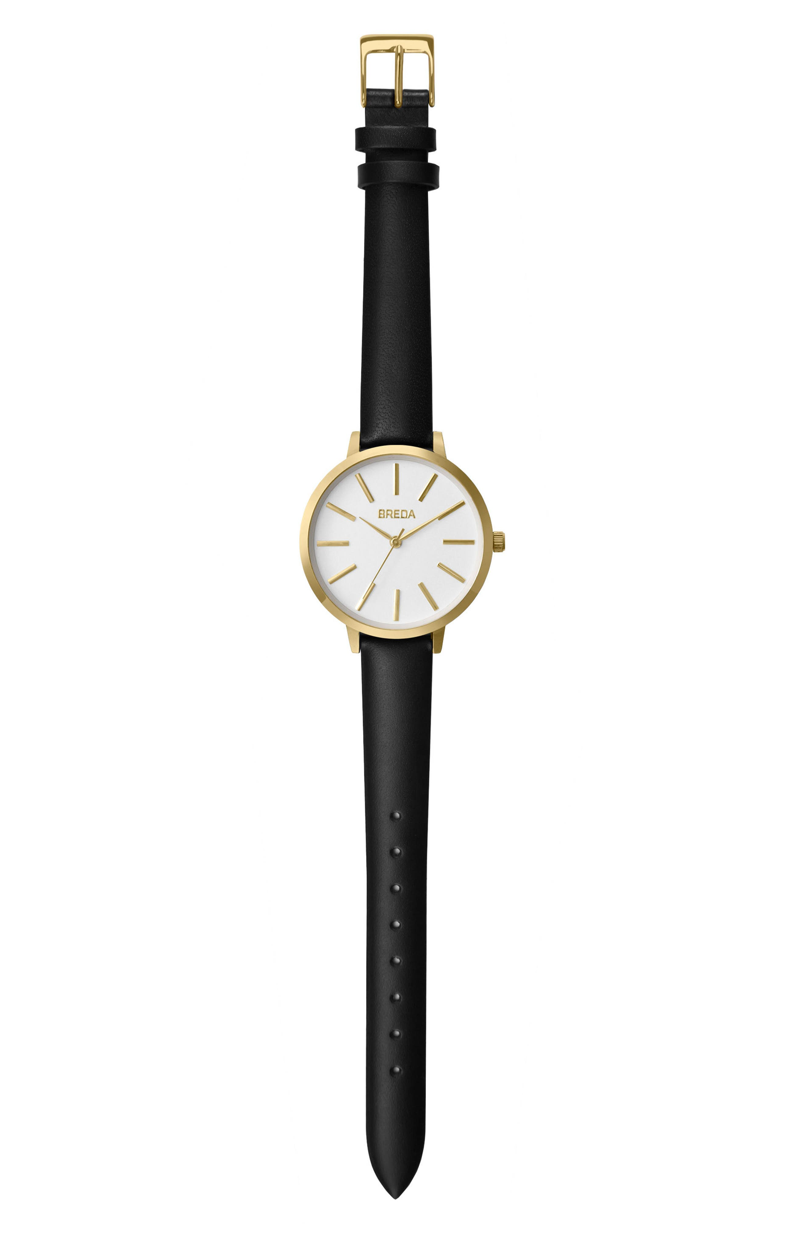 Joule Round Leather Strap Watch, 37mm,                             Alternate thumbnail 3, color,                             Black/ White/ Gold