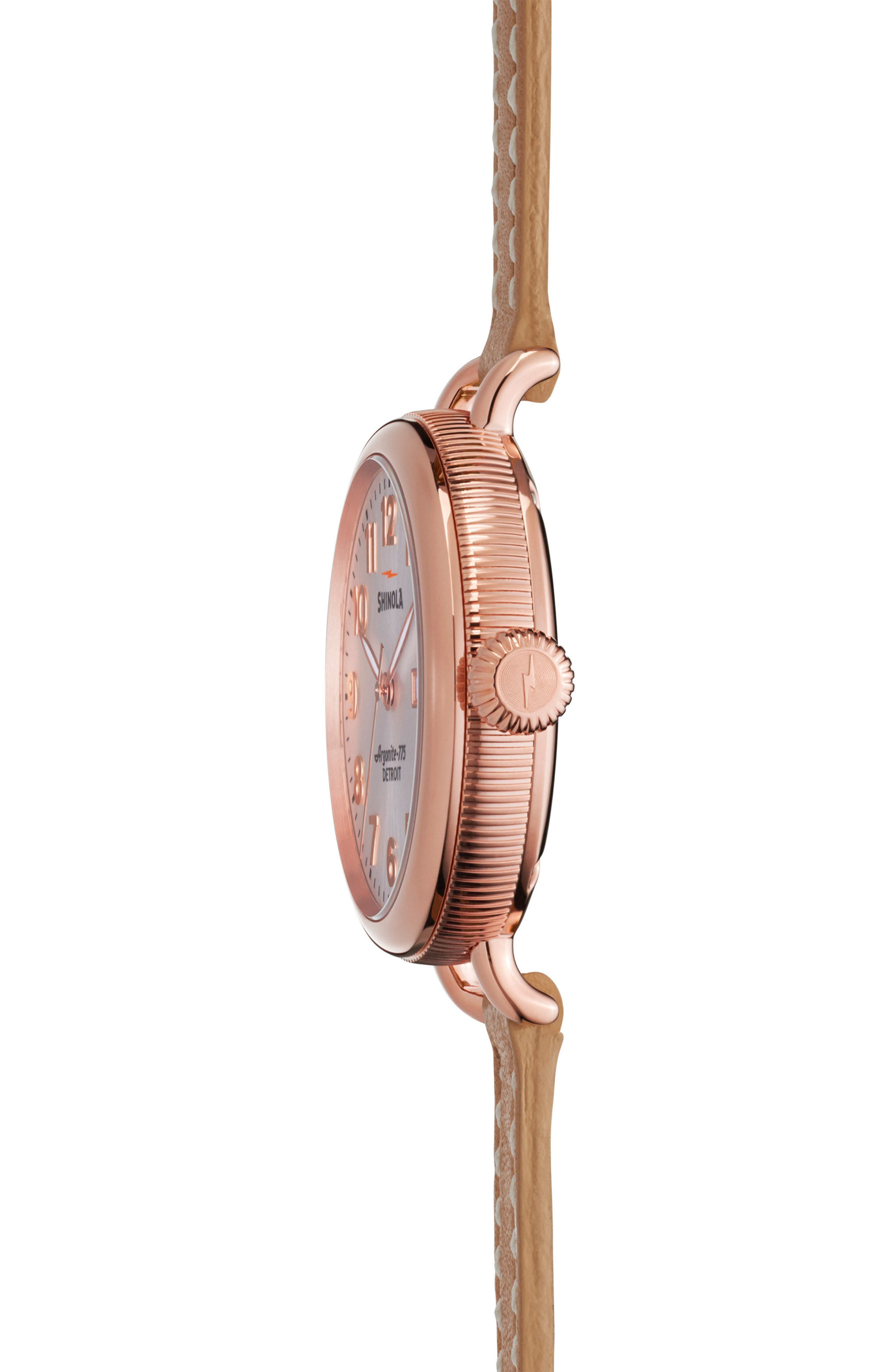 The Birdy Leather Strap Watch, 34mm,                             Alternate thumbnail 4, color,                             Natural/ Silver/ Rose Gold