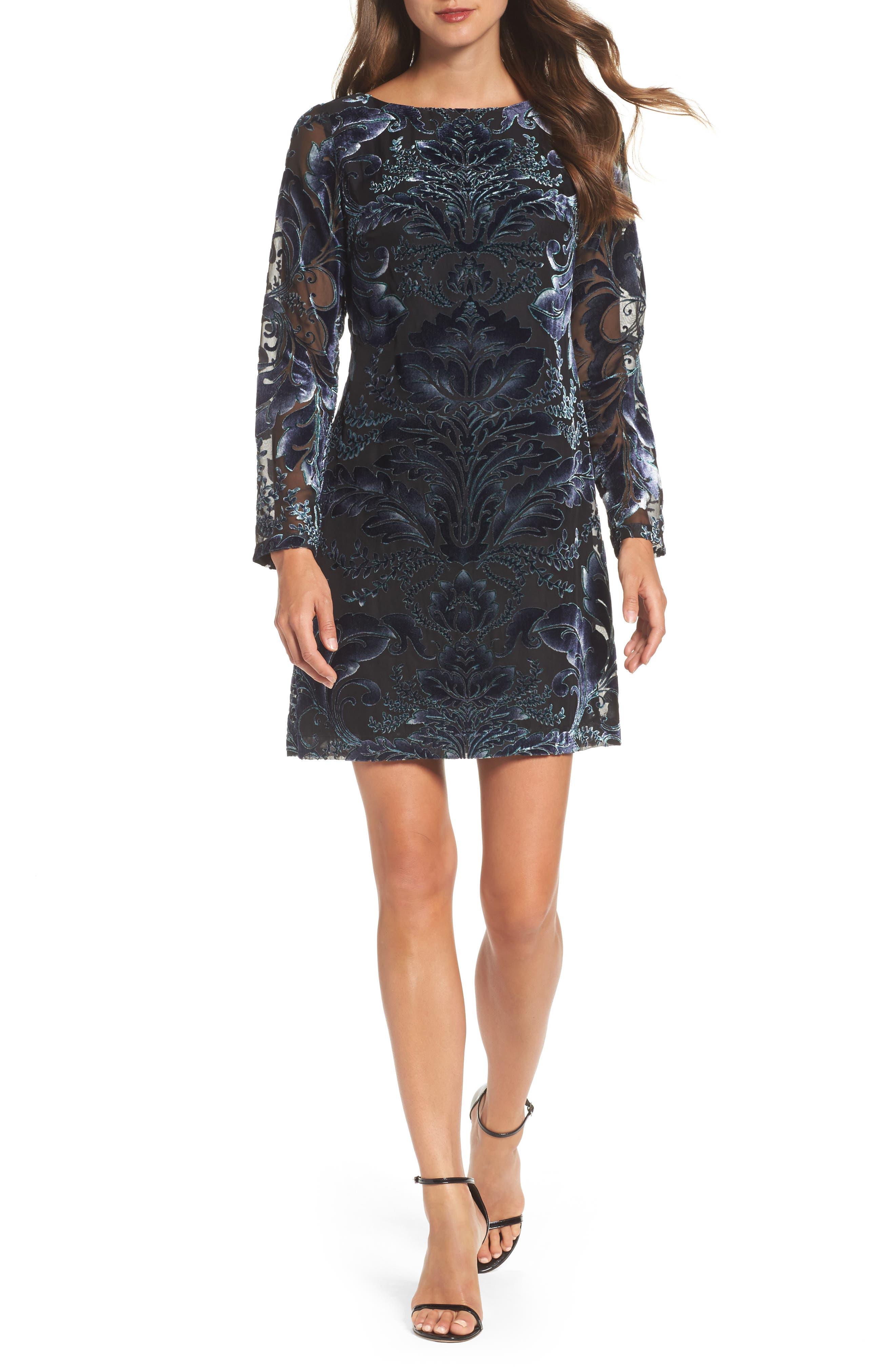 Vince Camuto Velvet Burnout Sheath Dress