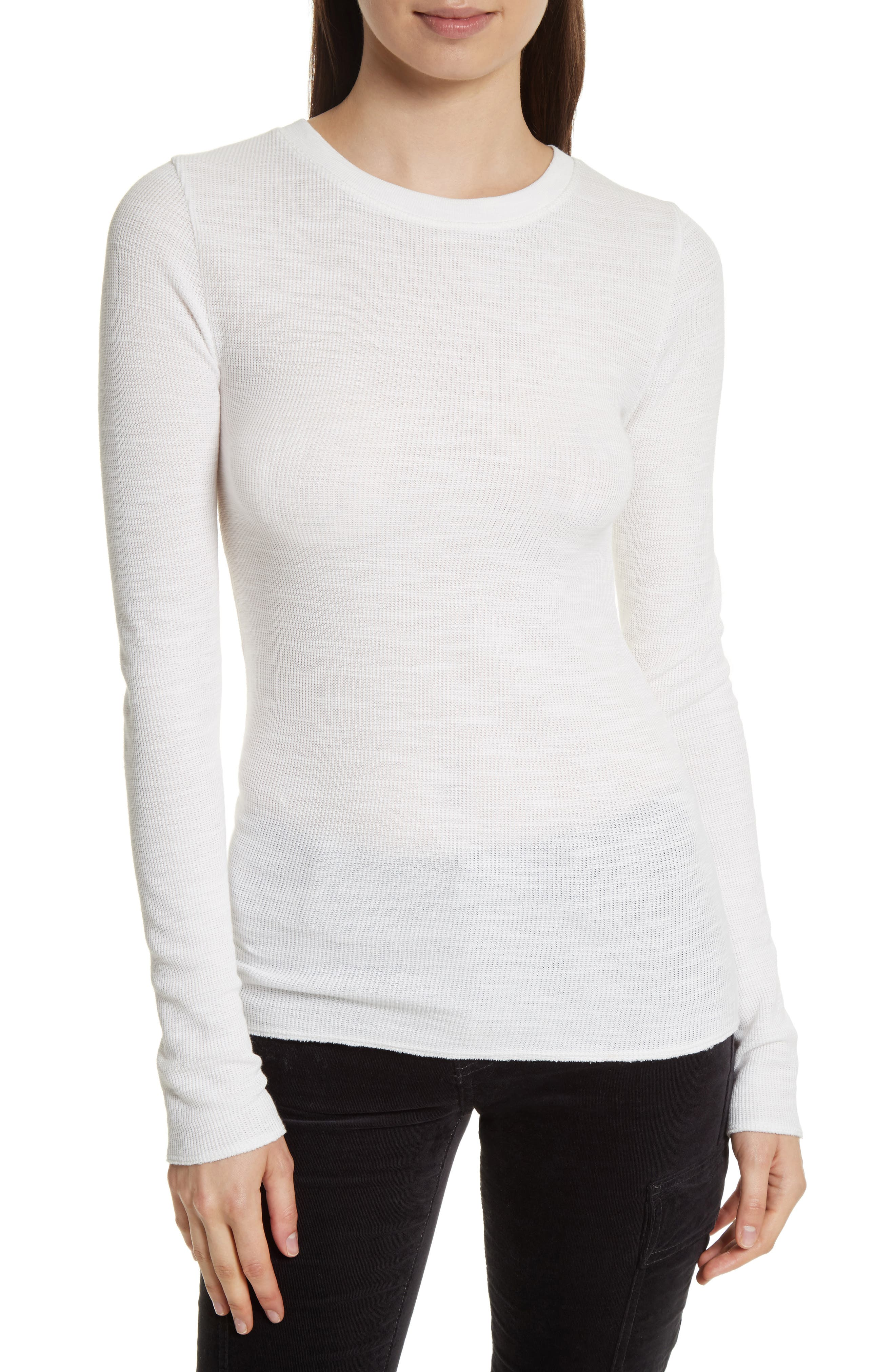 Long Sleeve Thermal Sweater,                         Main,                         color, Off White