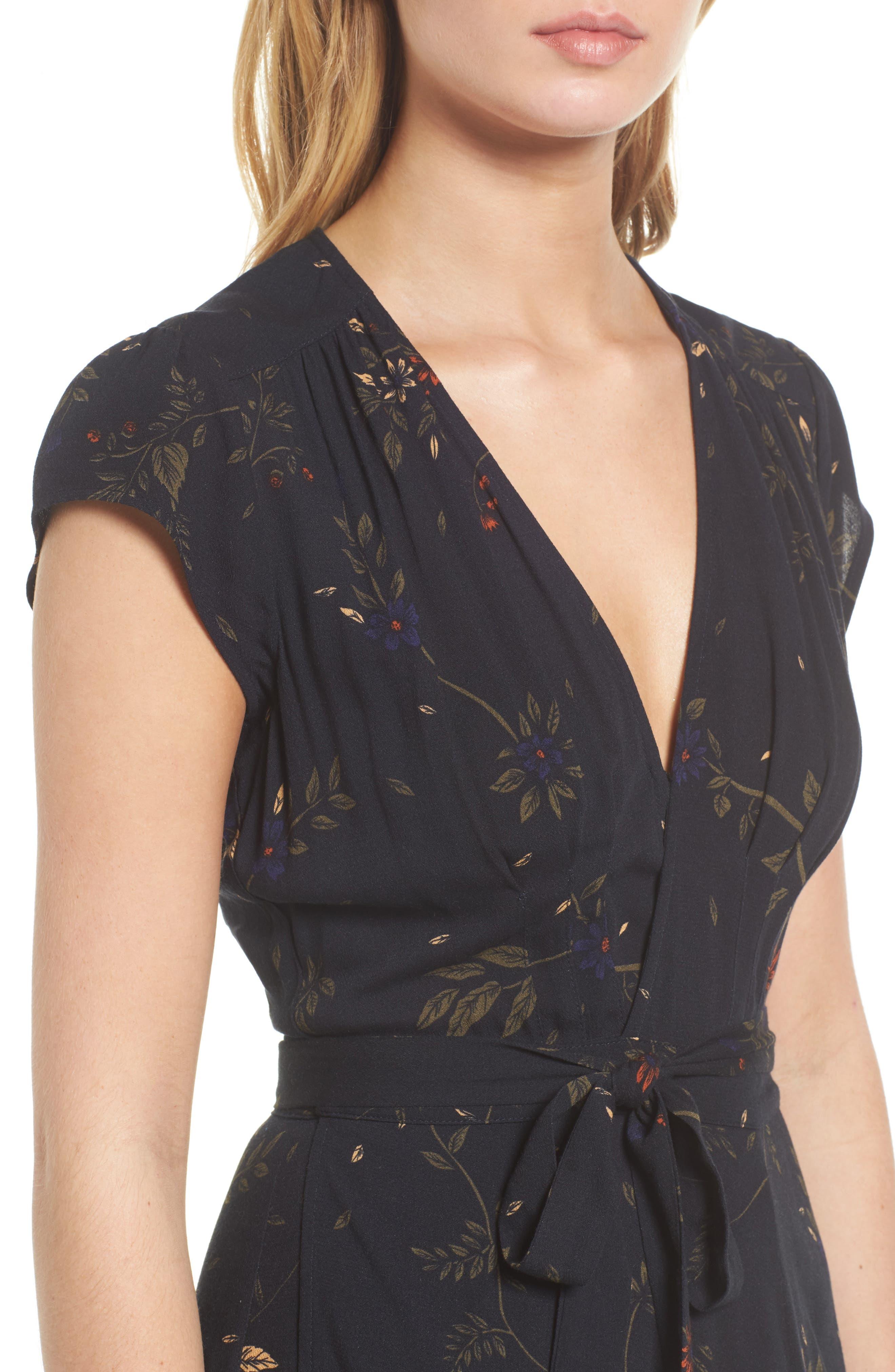 Daphne Wrap Maxi Dress,                             Alternate thumbnail 4, color,                             True Black Multi