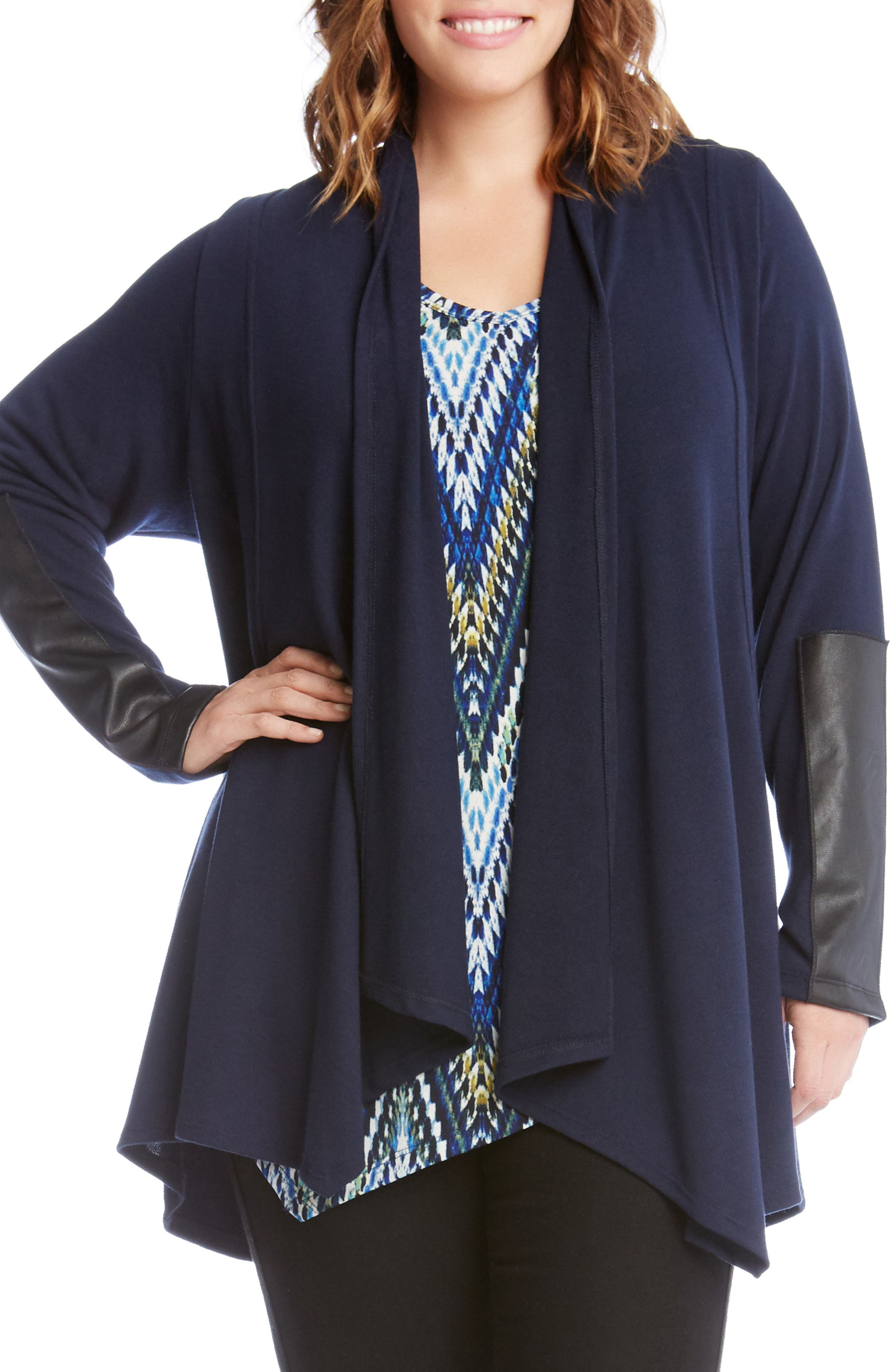 Main Image - Karen Kane Faux Leather Trim Drape Cardigan (Plus Size)