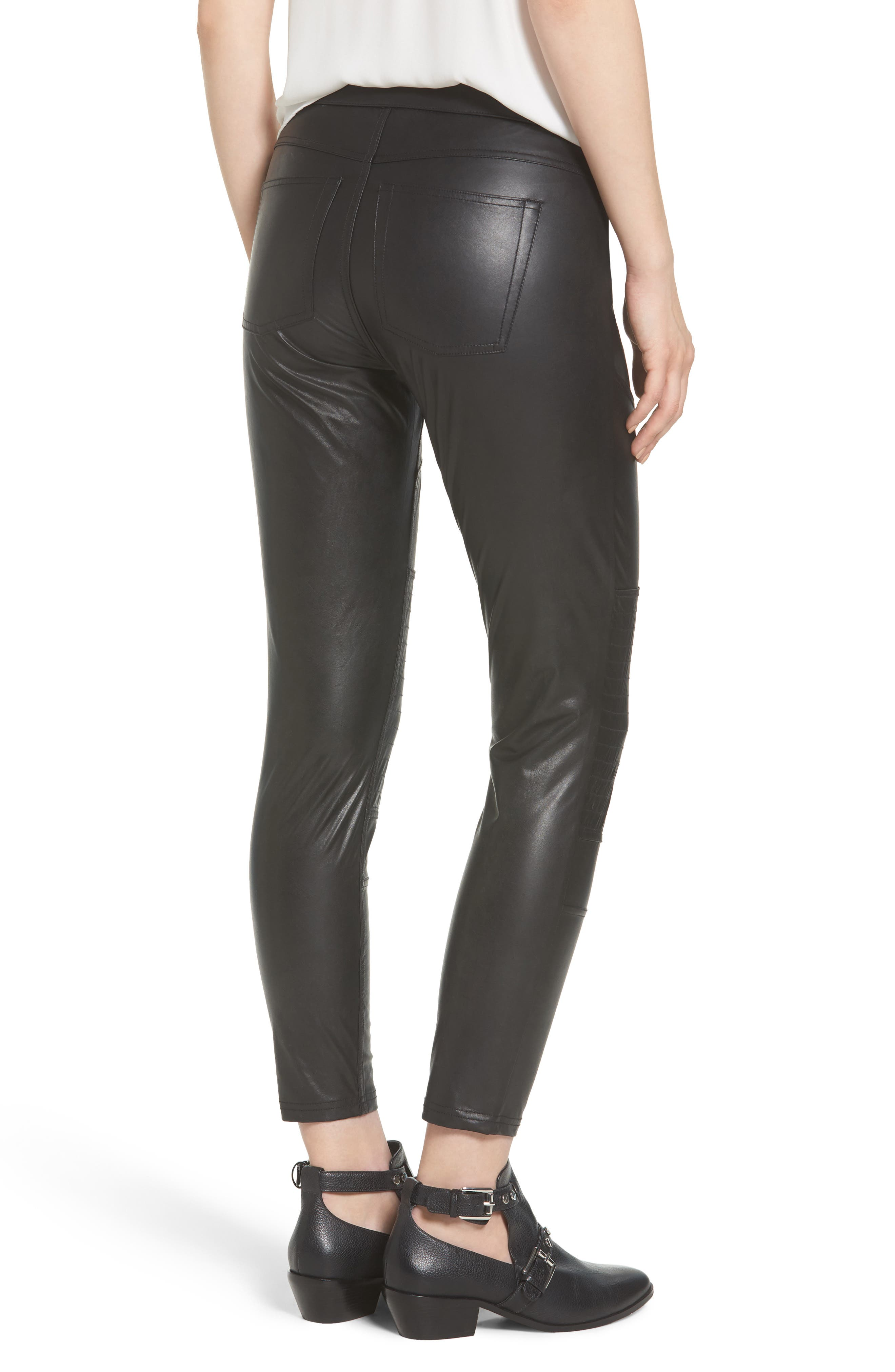 Alternate Image 2  - Hue Moto Leatherette Skimmer Leggings