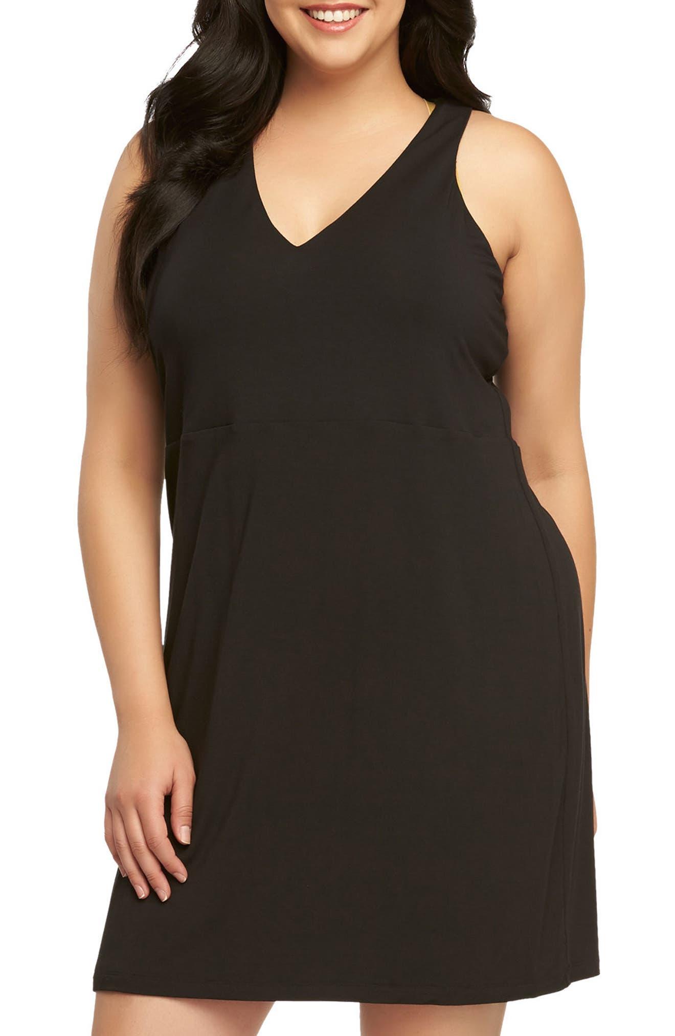 Amari Back Cutout Shift Dress,                         Main,                         color, Black