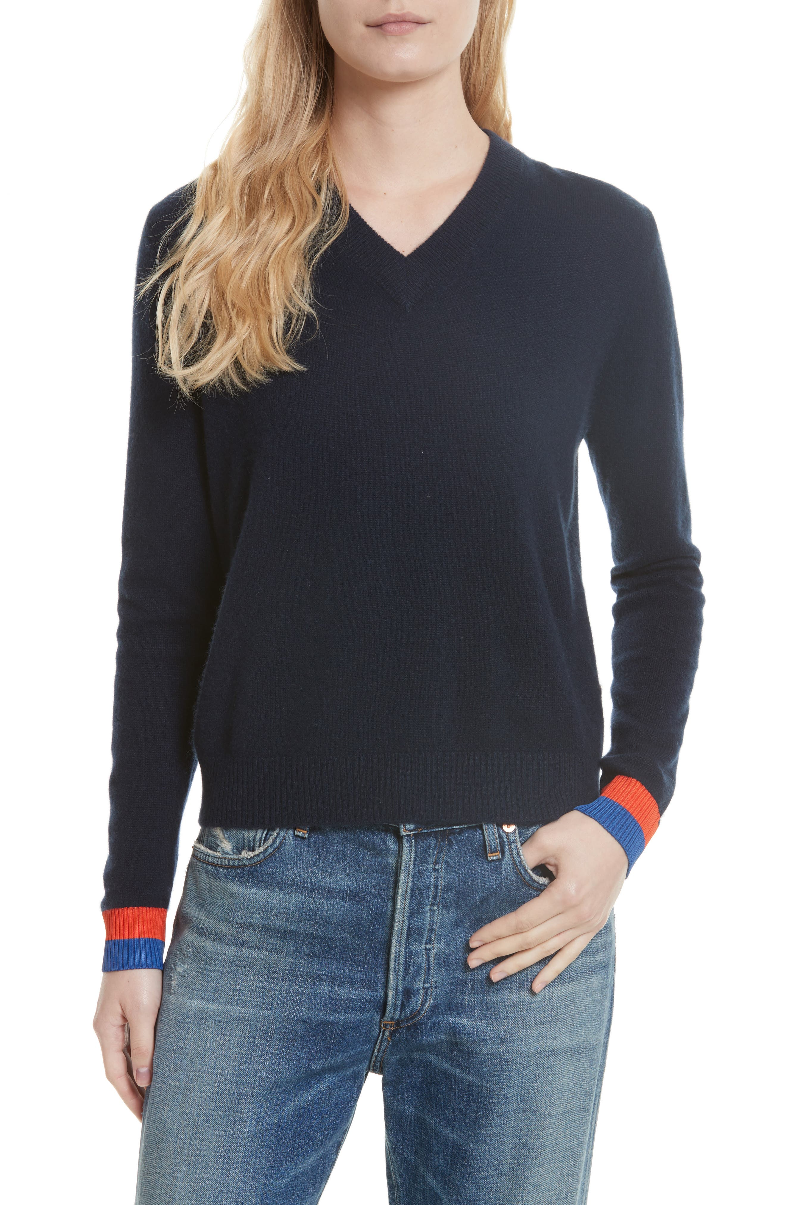 Cashmere Sweater,                         Main,                         color, Navy