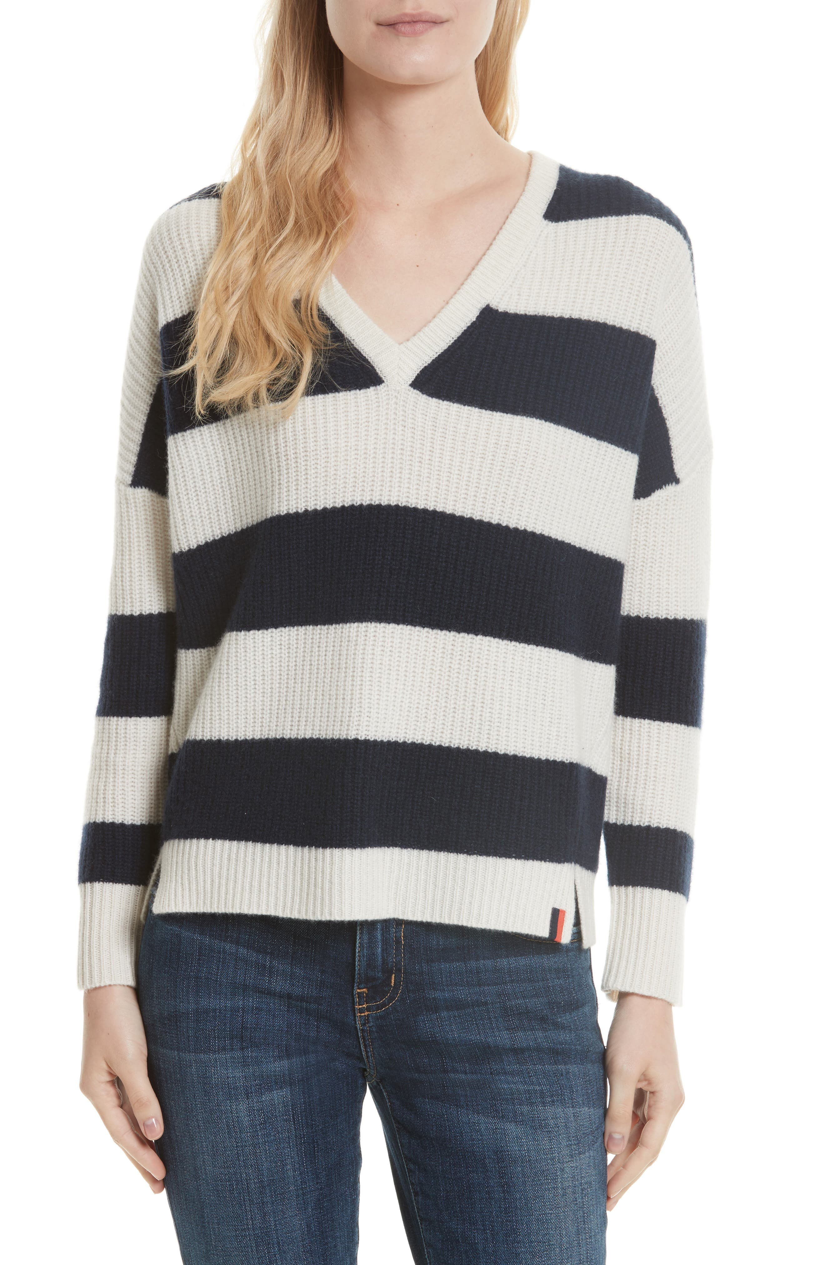 Cashmere Stripe Sweater,                         Main,                         color, Cream/ Navy