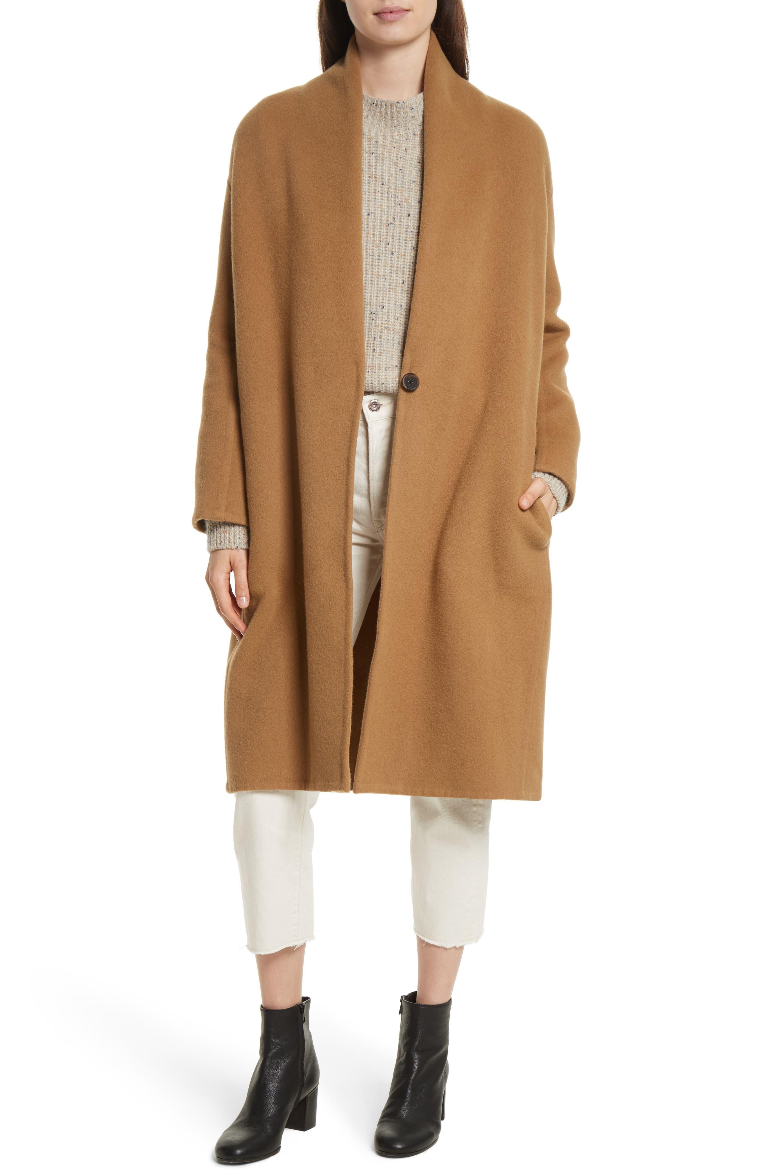 High Collar Long Wool Blend Coat,                             Main thumbnail 1, color,                             Camel
